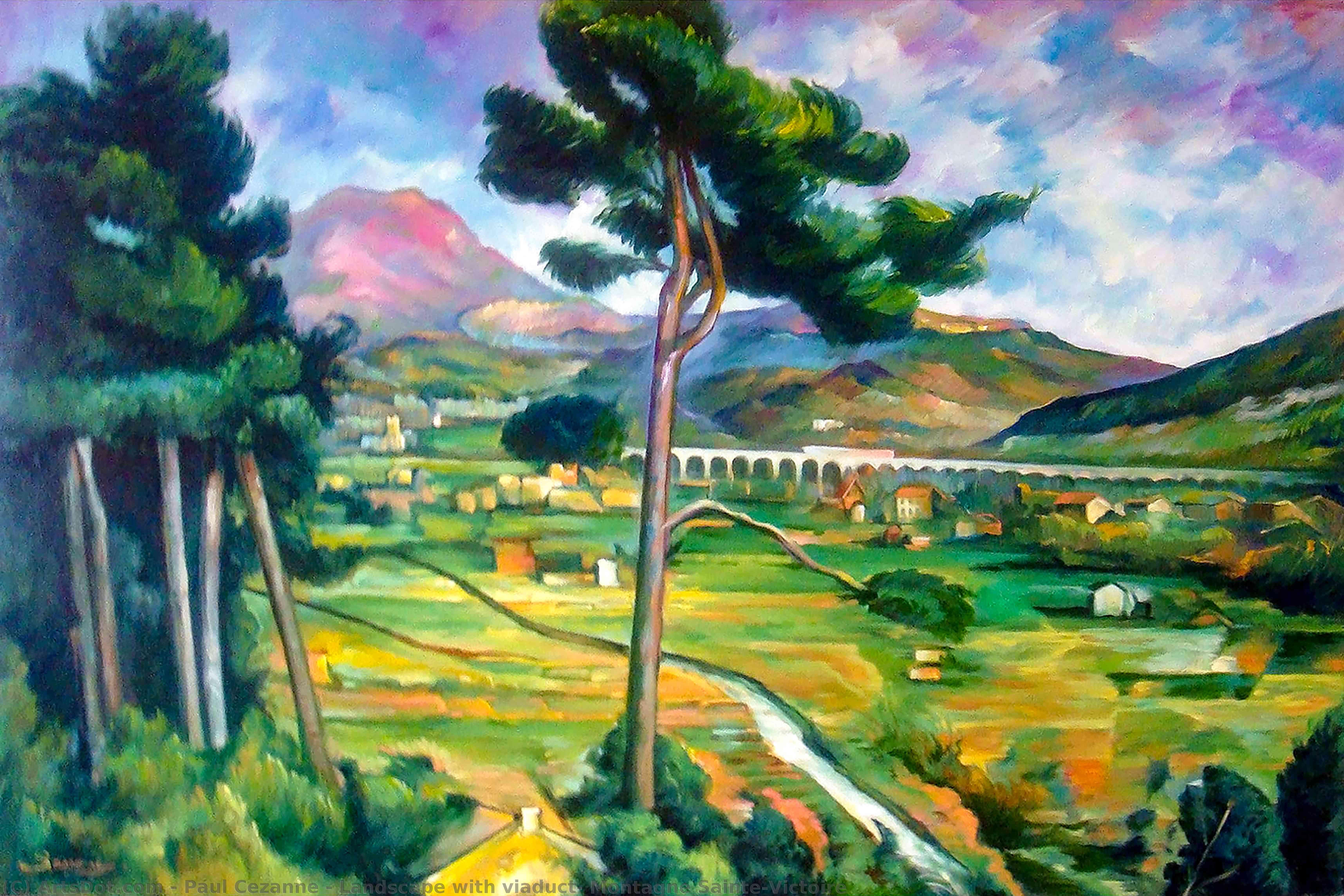 WikiOO.org - Güzel Sanatlar Ansiklopedisi - Resim, Resimler Paul Cezanne - Landscape with viaduct: Montagne Sainte-Victoire