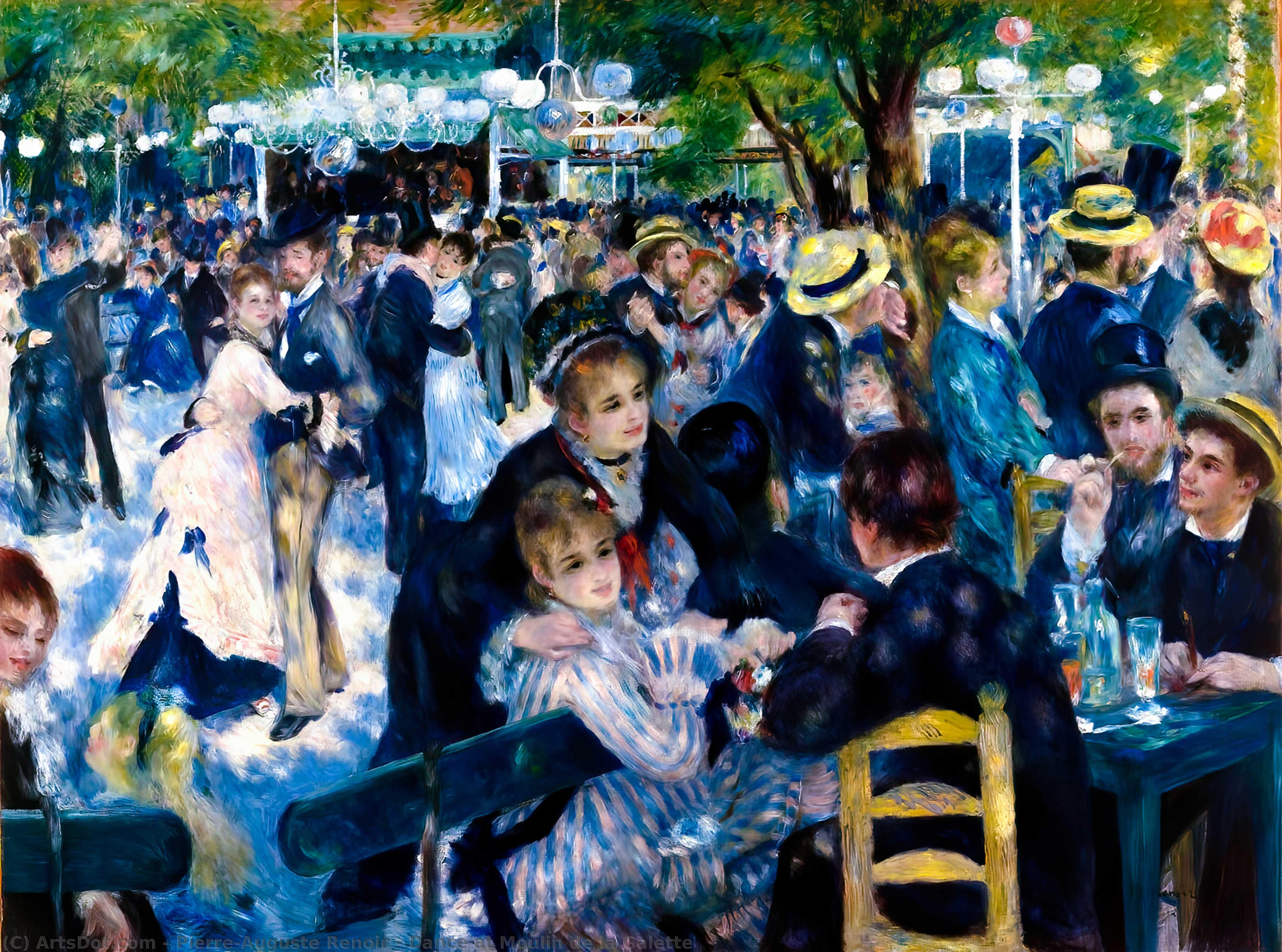 Wikoo.org - موسوعة الفنون الجميلة - اللوحة، العمل الفني Pierre-Auguste Renoir - Dance at Moulin de la Galette