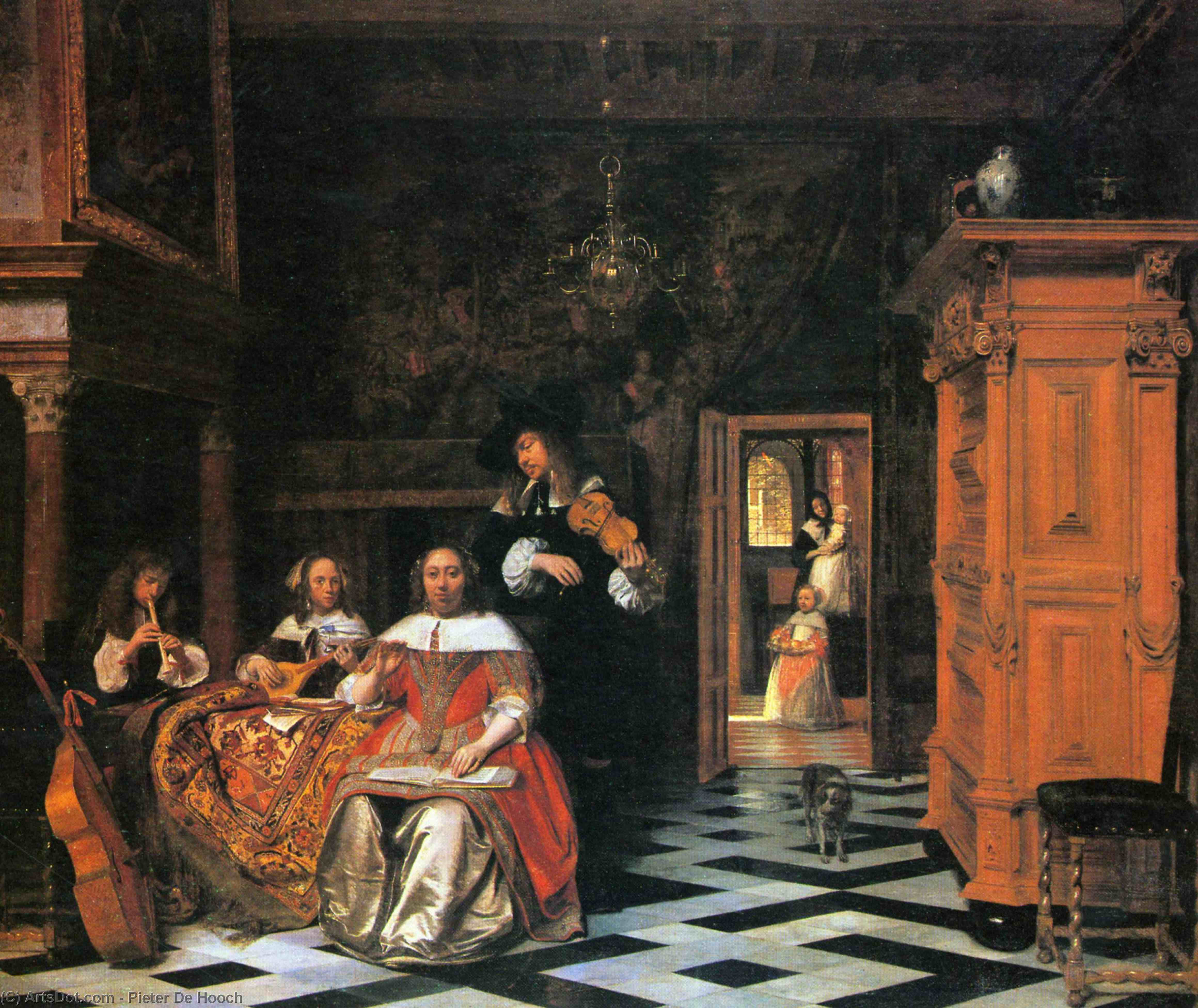 Wikioo.org - The Encyclopedia of Fine Arts - Painting, Artwork by Pieter De Hooch - Portrait of a family of musicians