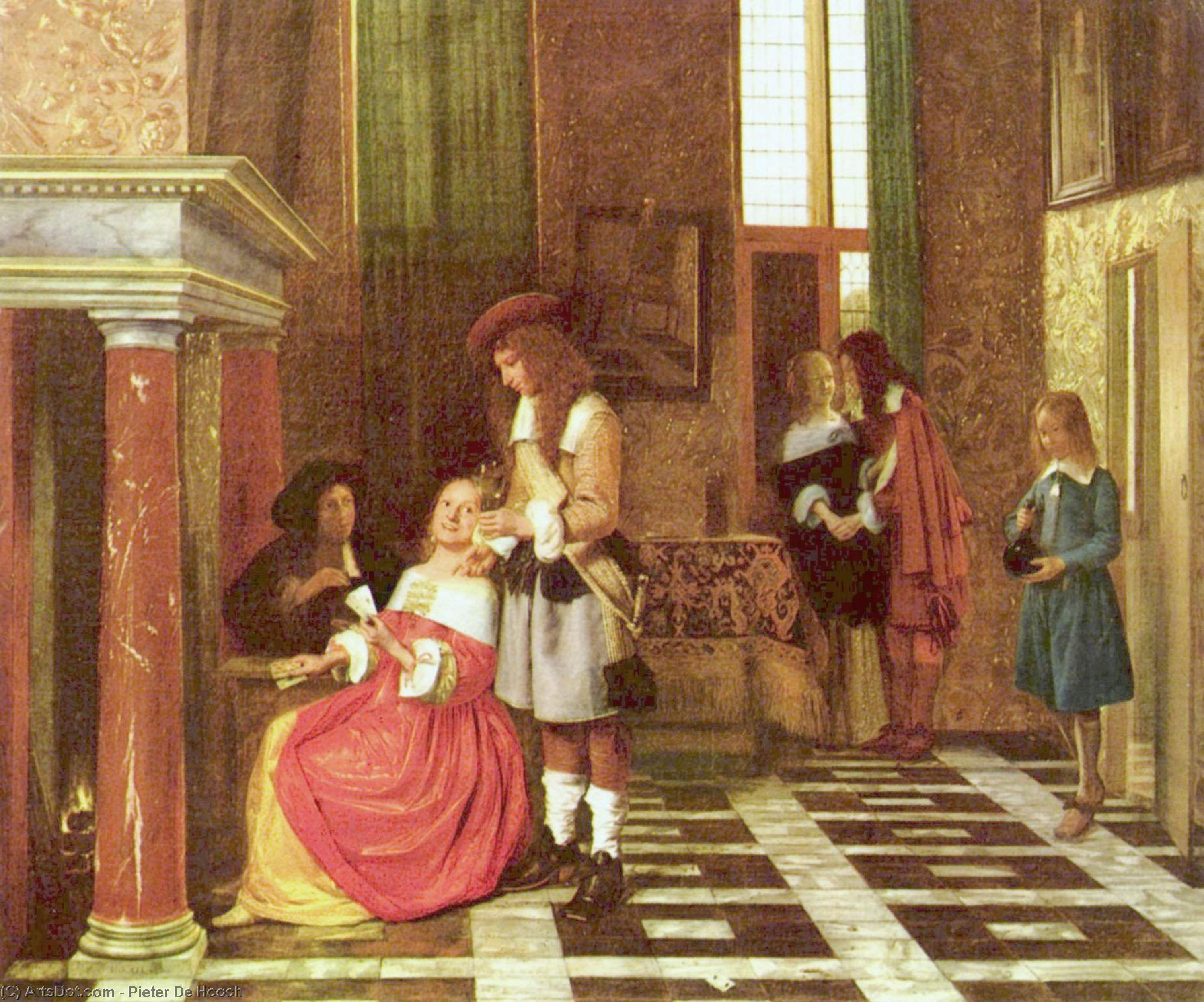 Wikioo.org - The Encyclopedia of Fine Arts - Painting, Artwork by Pieter De Hooch - The Card Players