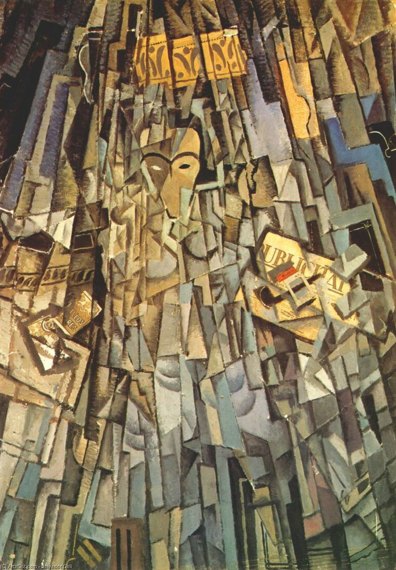 WikiOO.org - Encyclopedia of Fine Arts - Maľba, Artwork Salvador Dali - Cubist Self-portrait