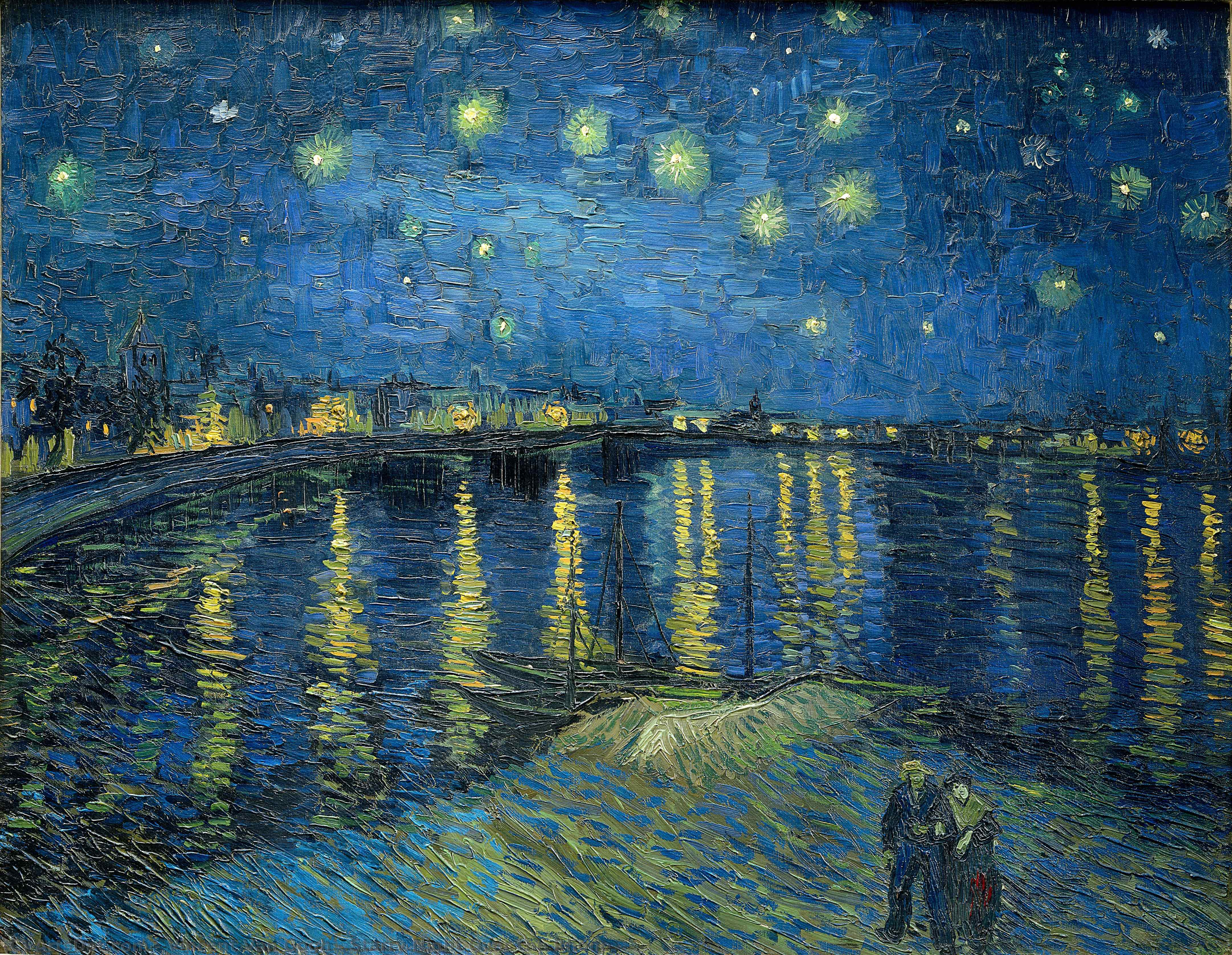 Wikioo.org - The Encyclopedia of Fine Arts - Painting, Artwork by Vincent Van Gogh - Starry Night Over the Rhone