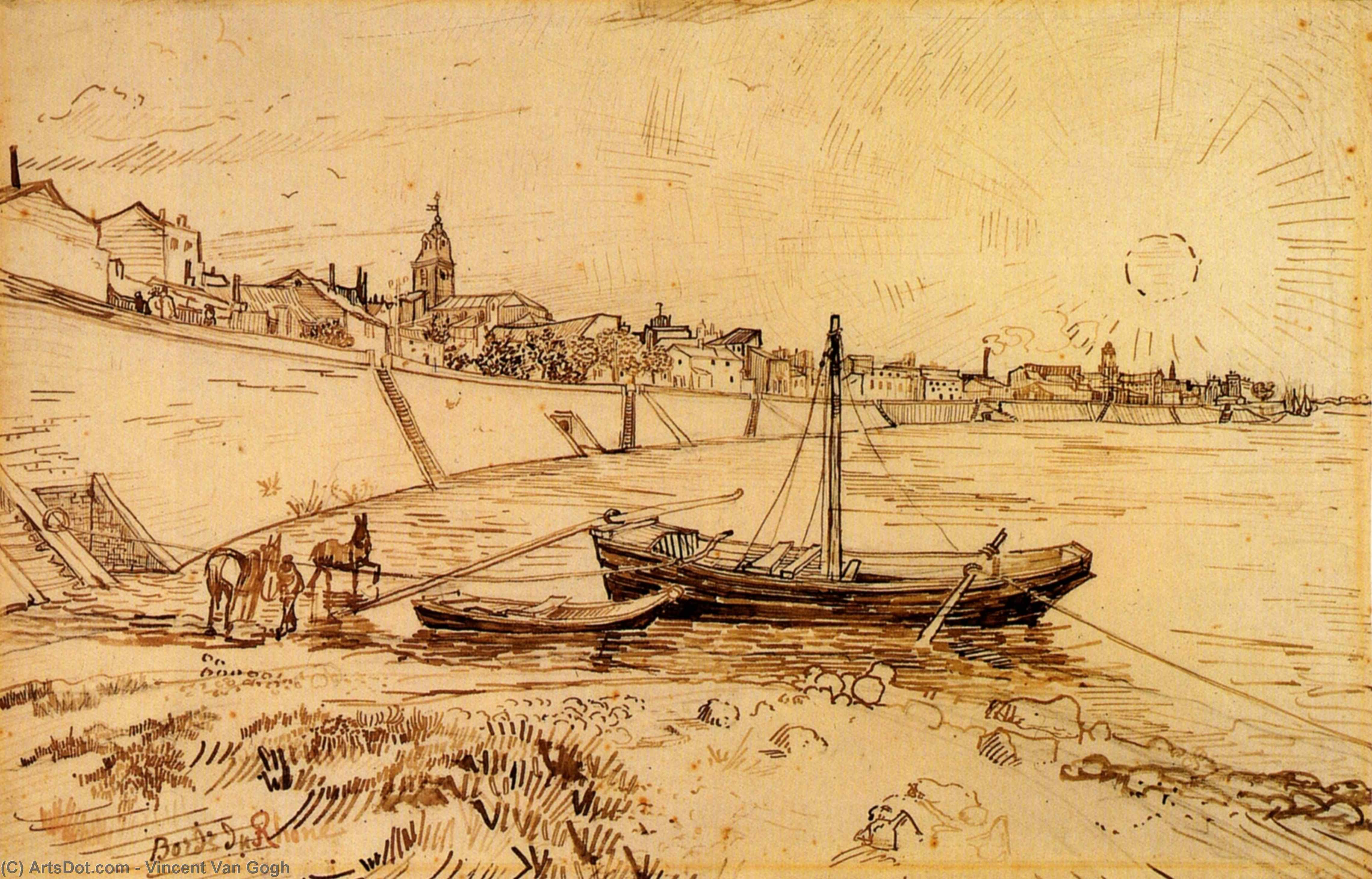 Wikioo.org - The Encyclopedia of Fine Arts - Painting, Artwork by Vincent Van Gogh - Bank of the Rhone at Arles