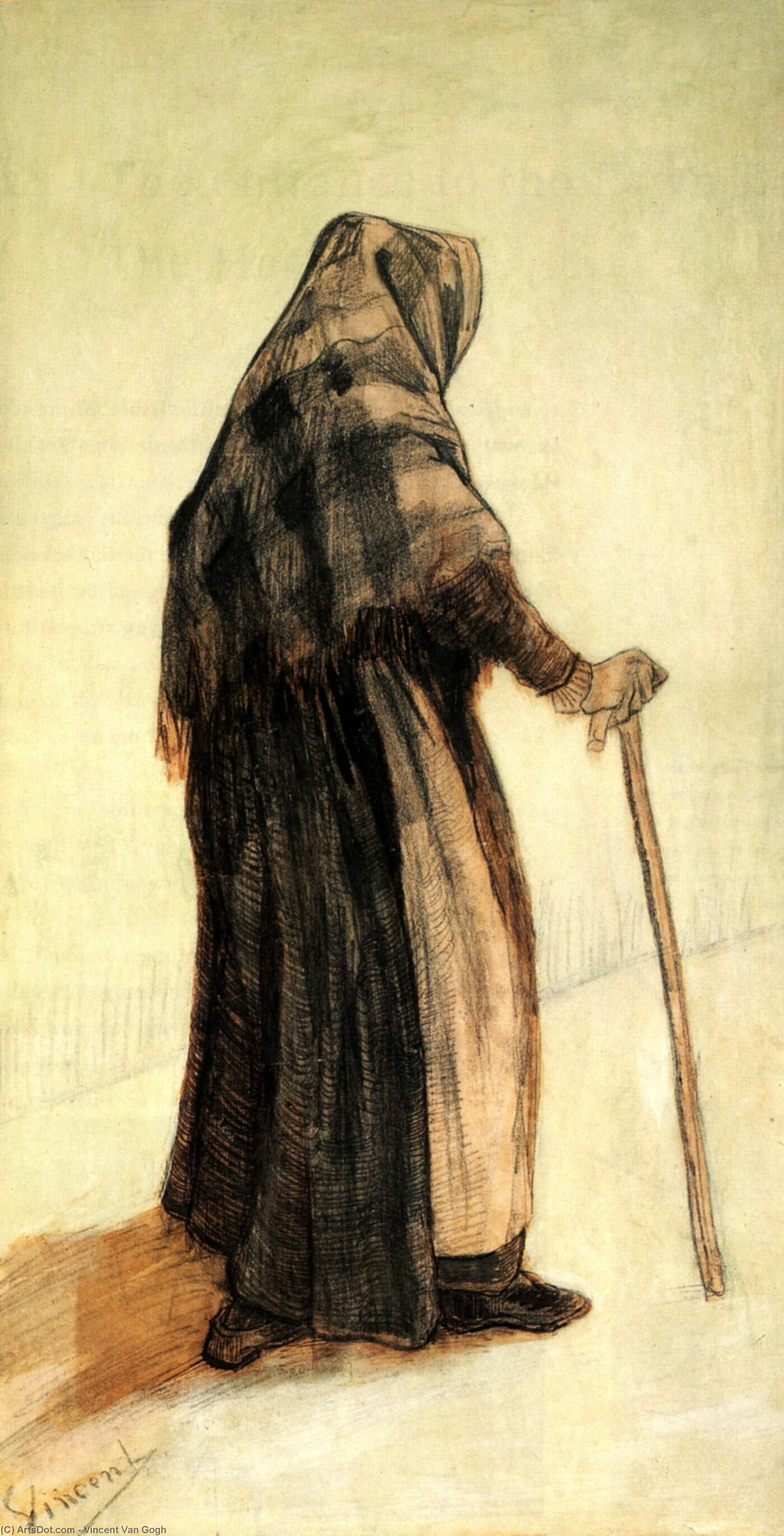 Wikioo.org - The Encyclopedia of Fine Arts - Painting, Artwork by Vincent Van Gogh - Old Woman with a Shawl and a Walking-Stick
