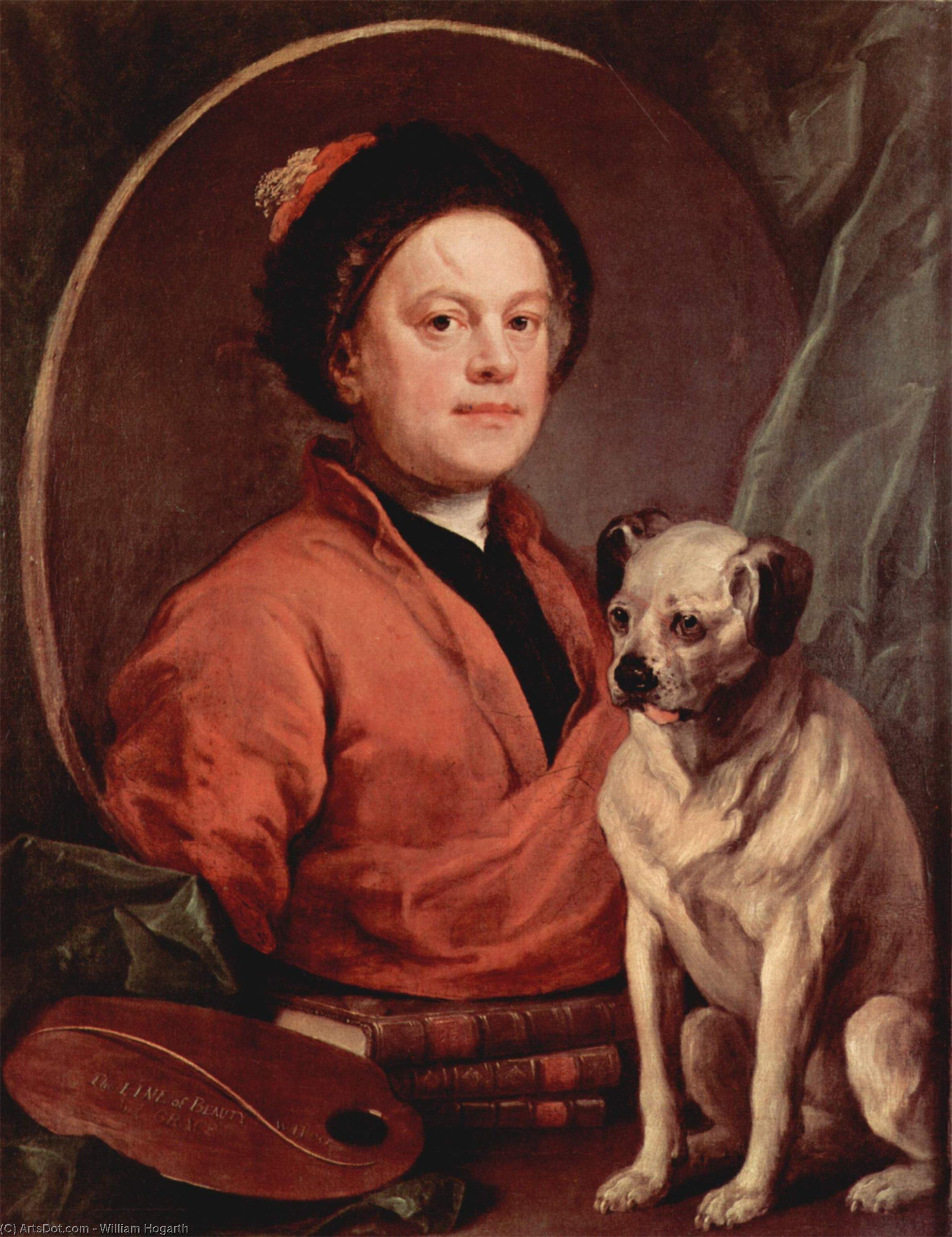 WikiOO.org - Enciklopedija dailės - Tapyba, meno kuriniai William Hogarth - Self portrait
