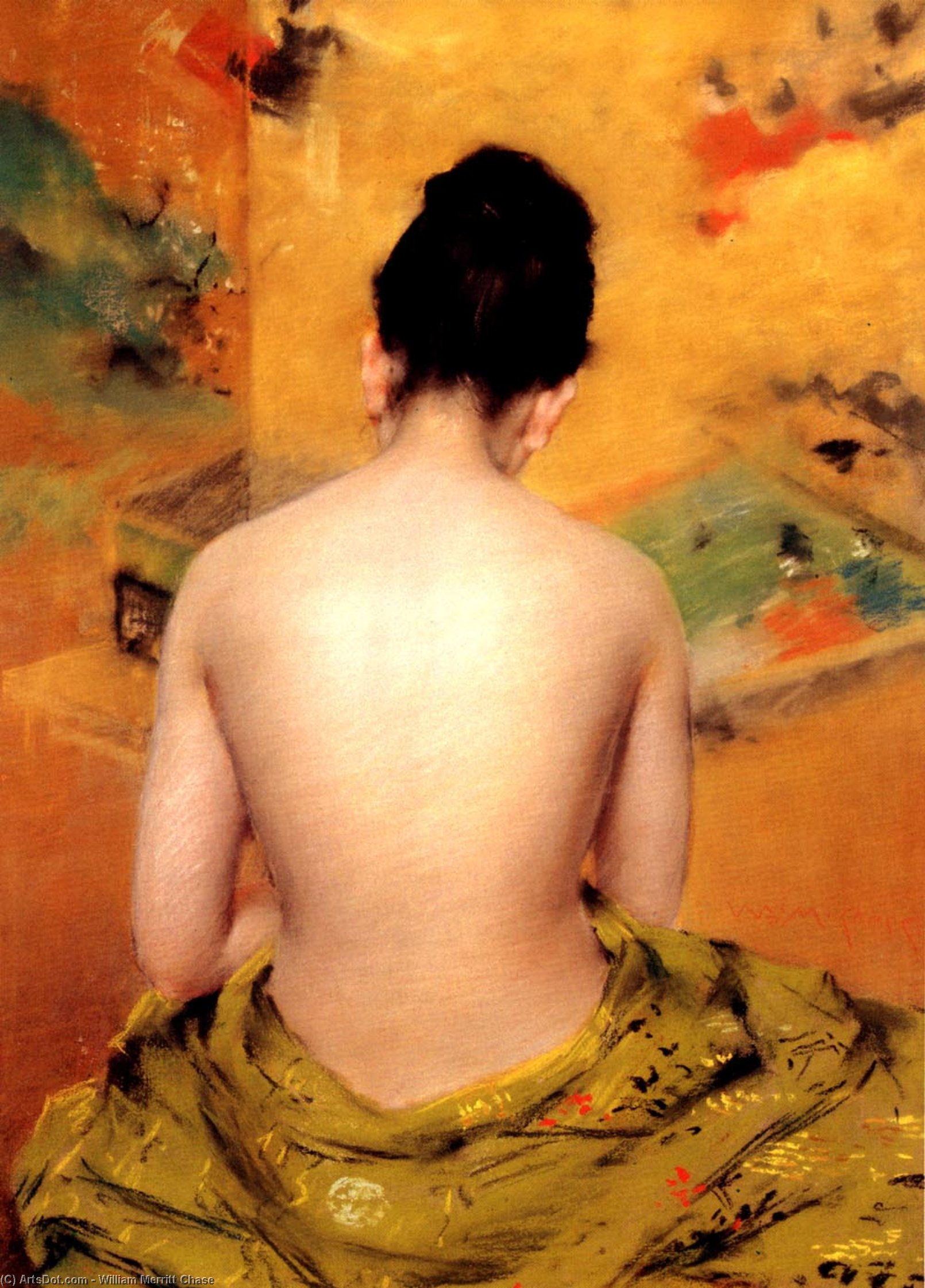 Wikioo.org - The Encyclopedia of Fine Arts - Painting, Artwork by William Merritt Chase - Back Of A Nude