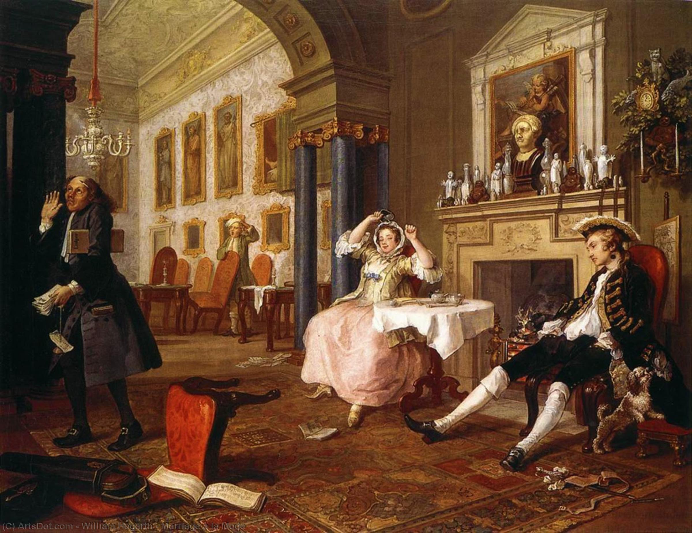 WikiOO.org - Enciklopedija dailės - Tapyba, meno kuriniai William Hogarth - Marriage à la Mode