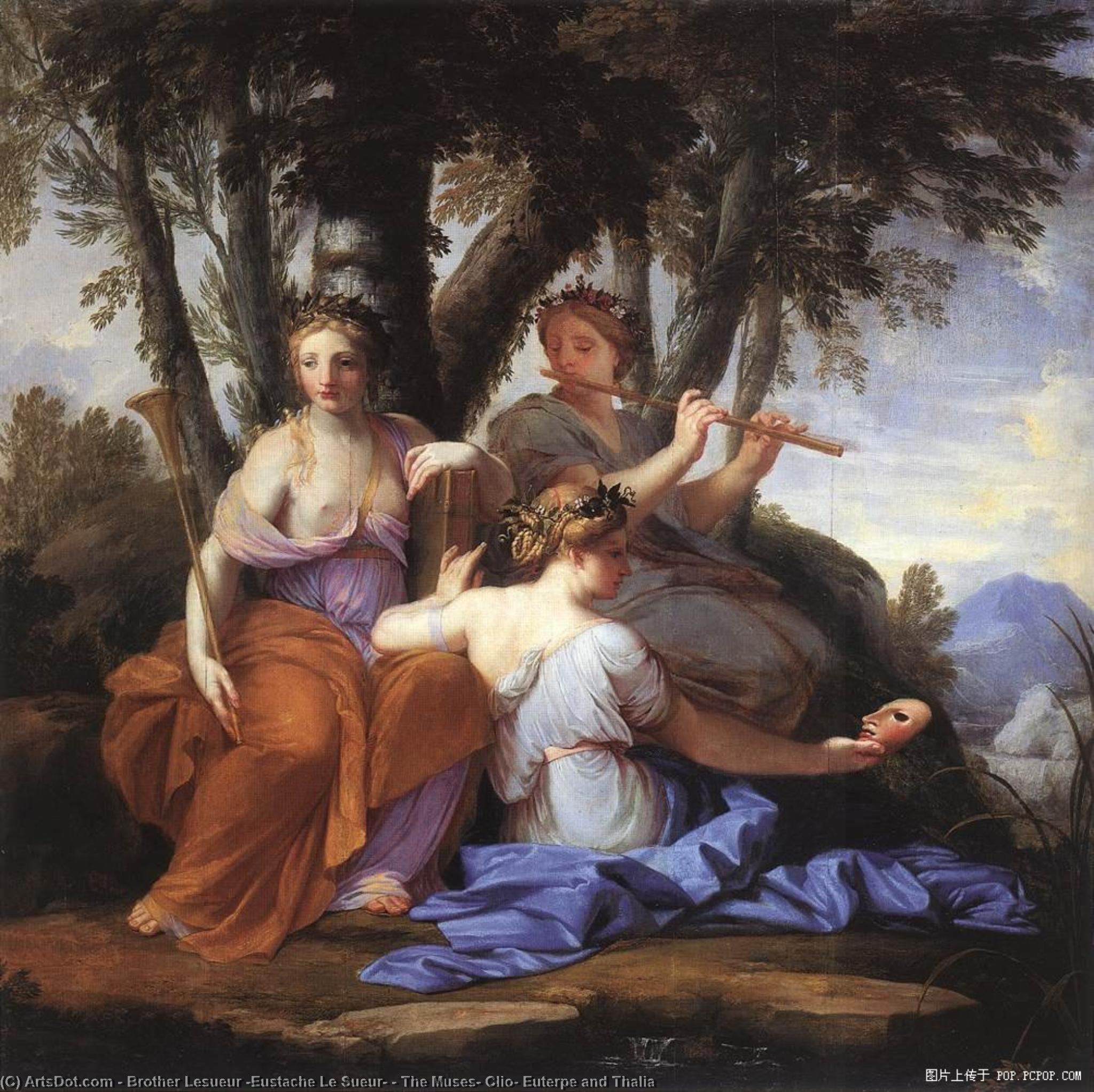 Wikioo.org - The Encyclopedia of Fine Arts - Painting, Artwork by Brother Lesueur (Eustache Le Sueur) - The Muses: Clio, Euterpe and Thalia