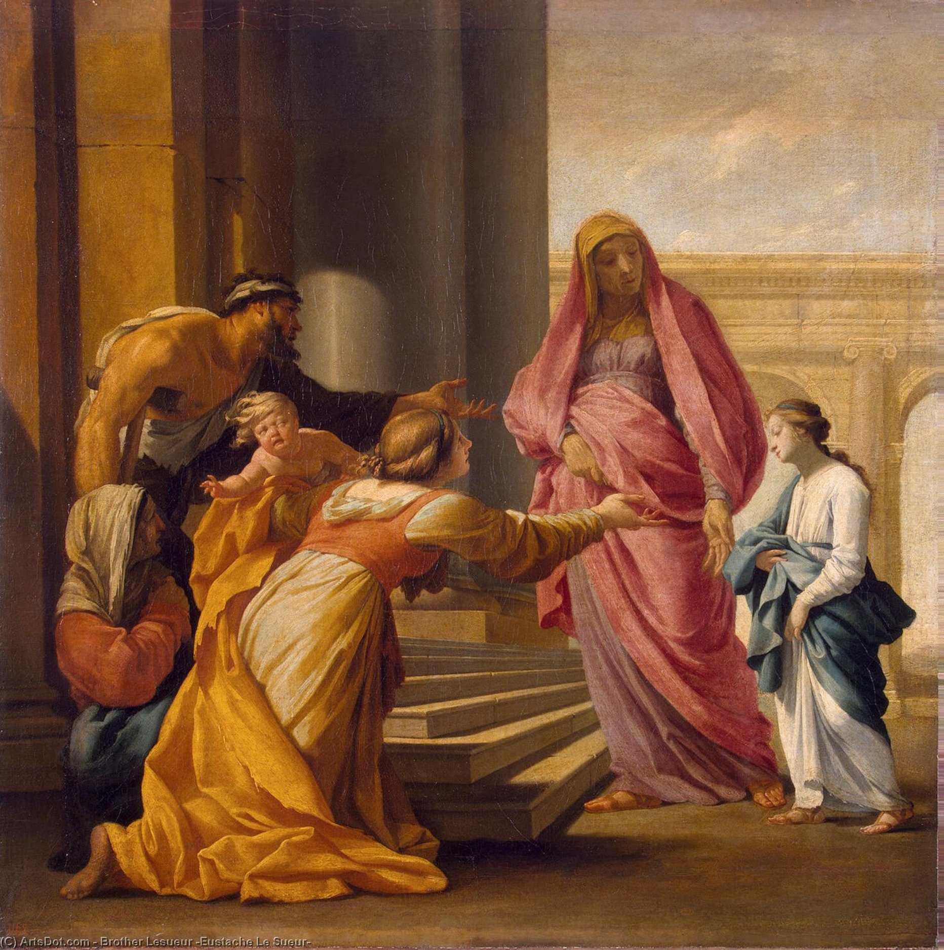 Wikioo.org - The Encyclopedia of Fine Arts - Painting, Artwork by Brother Lesueur (Eustache Le Sueur) - Presentation of the Virgin