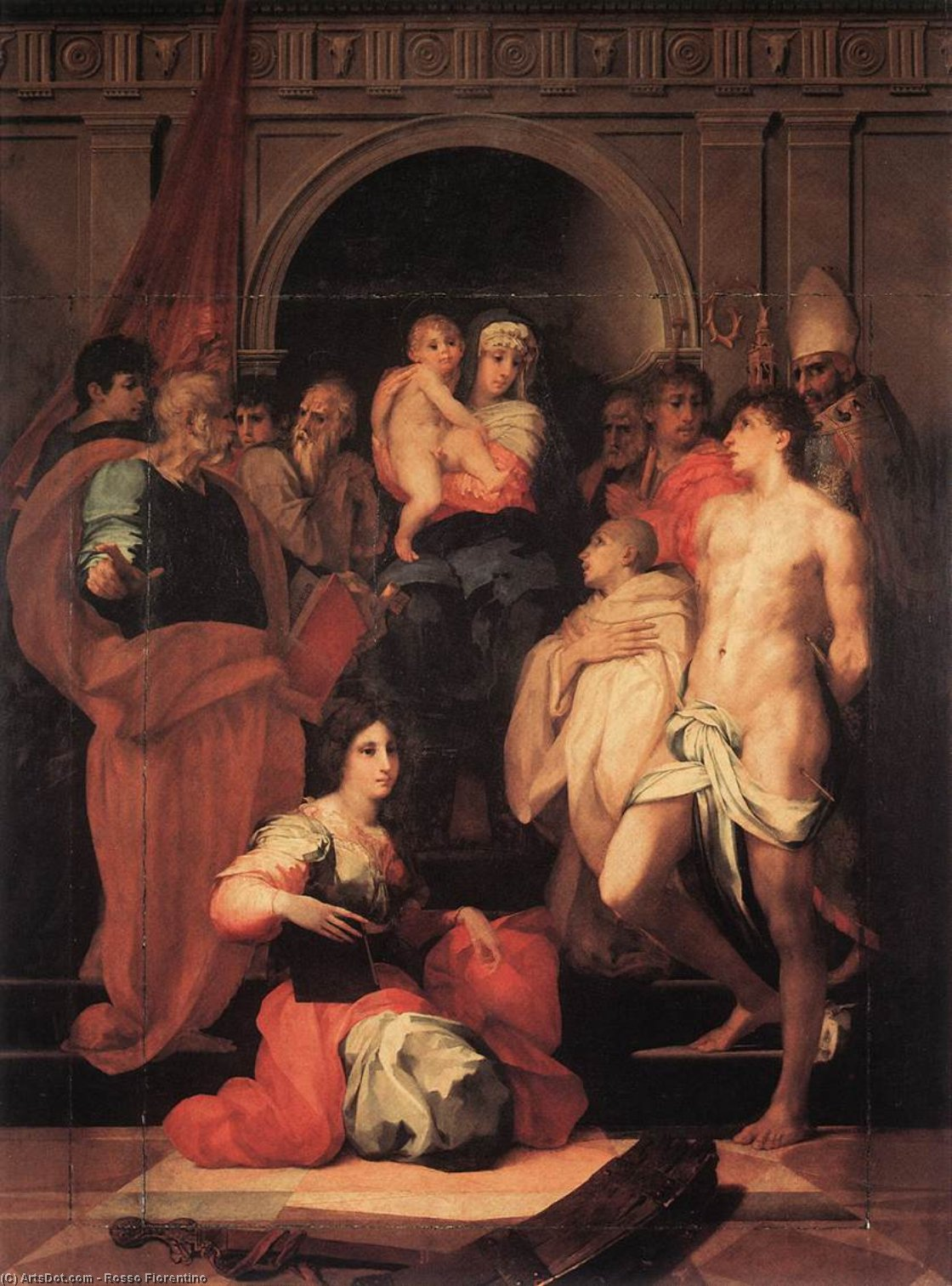 Wikioo.org - The Encyclopedia of Fine Arts - Painting, Artwork by Rosso Fiorentino - Madonna Enthroned and Ten Saints