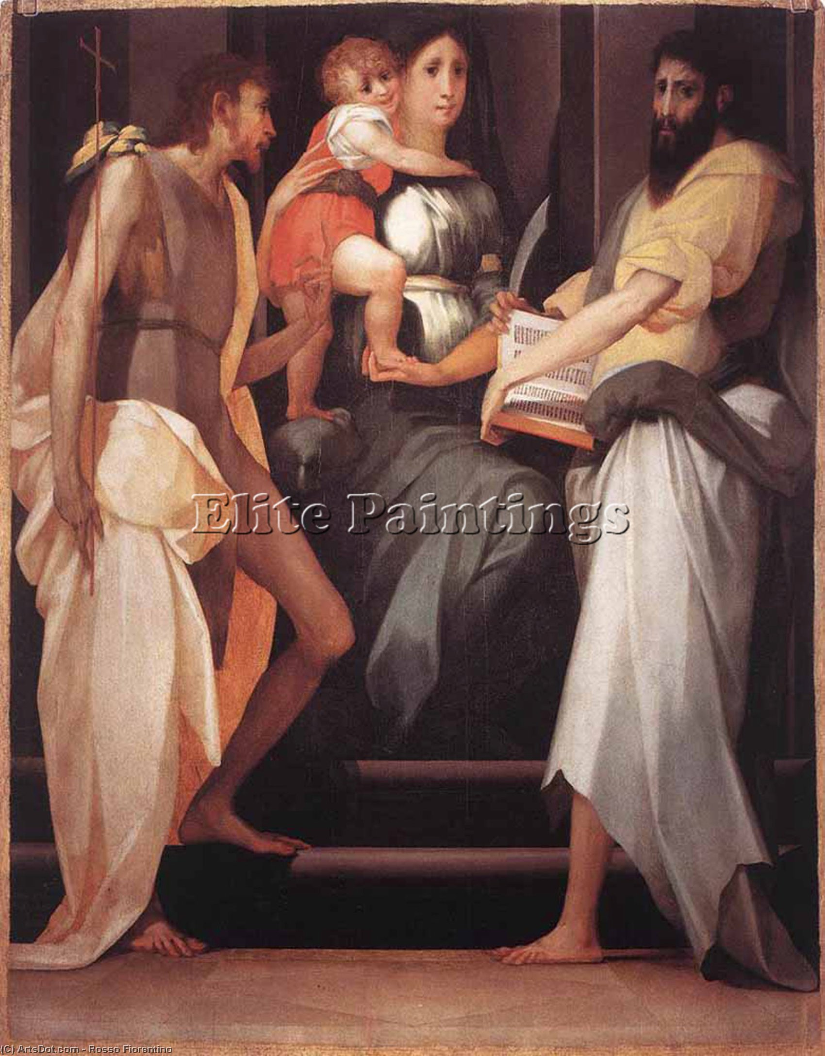 Wikioo.org - The Encyclopedia of Fine Arts - Painting, Artwork by Rosso Fiorentino - Madonna Enthroned between Two Saints