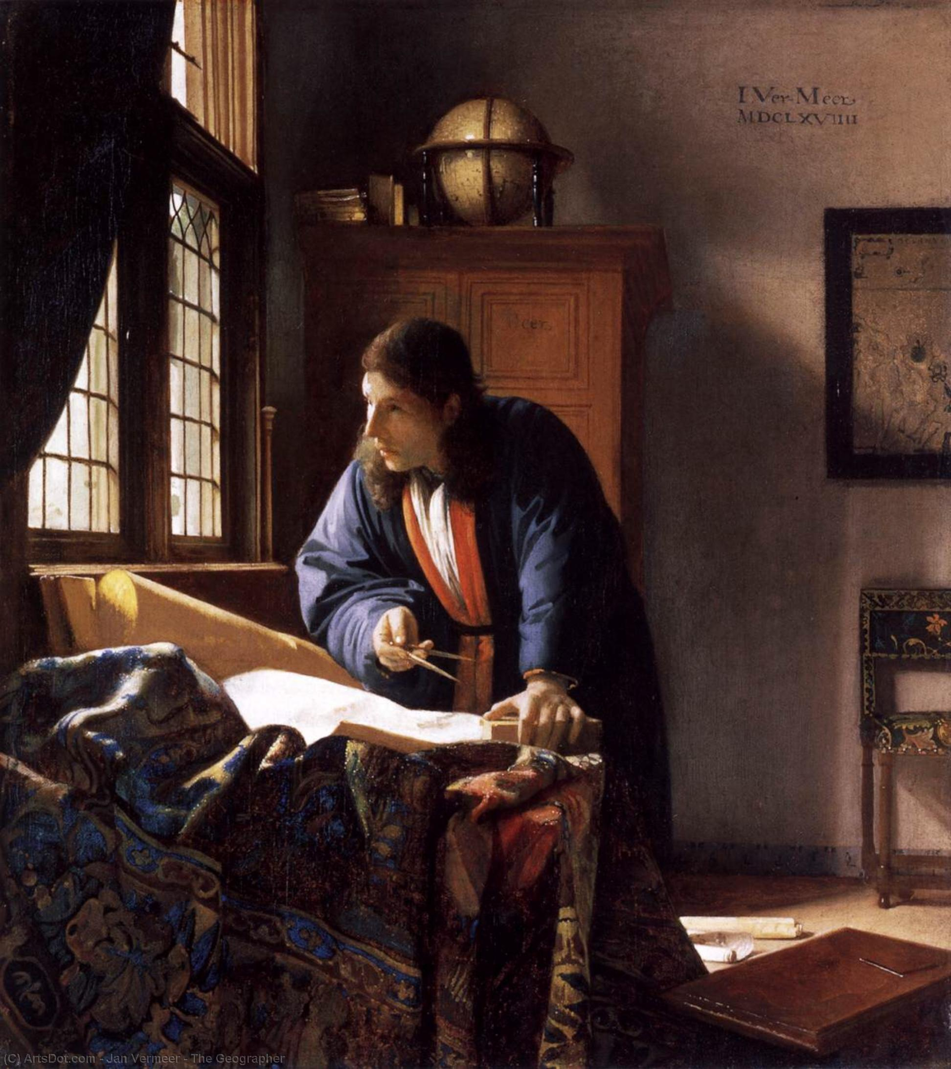 Wikioo.org - The Encyclopedia of Fine Arts - Painting, Artwork by Jan Vermeer - The Geographer