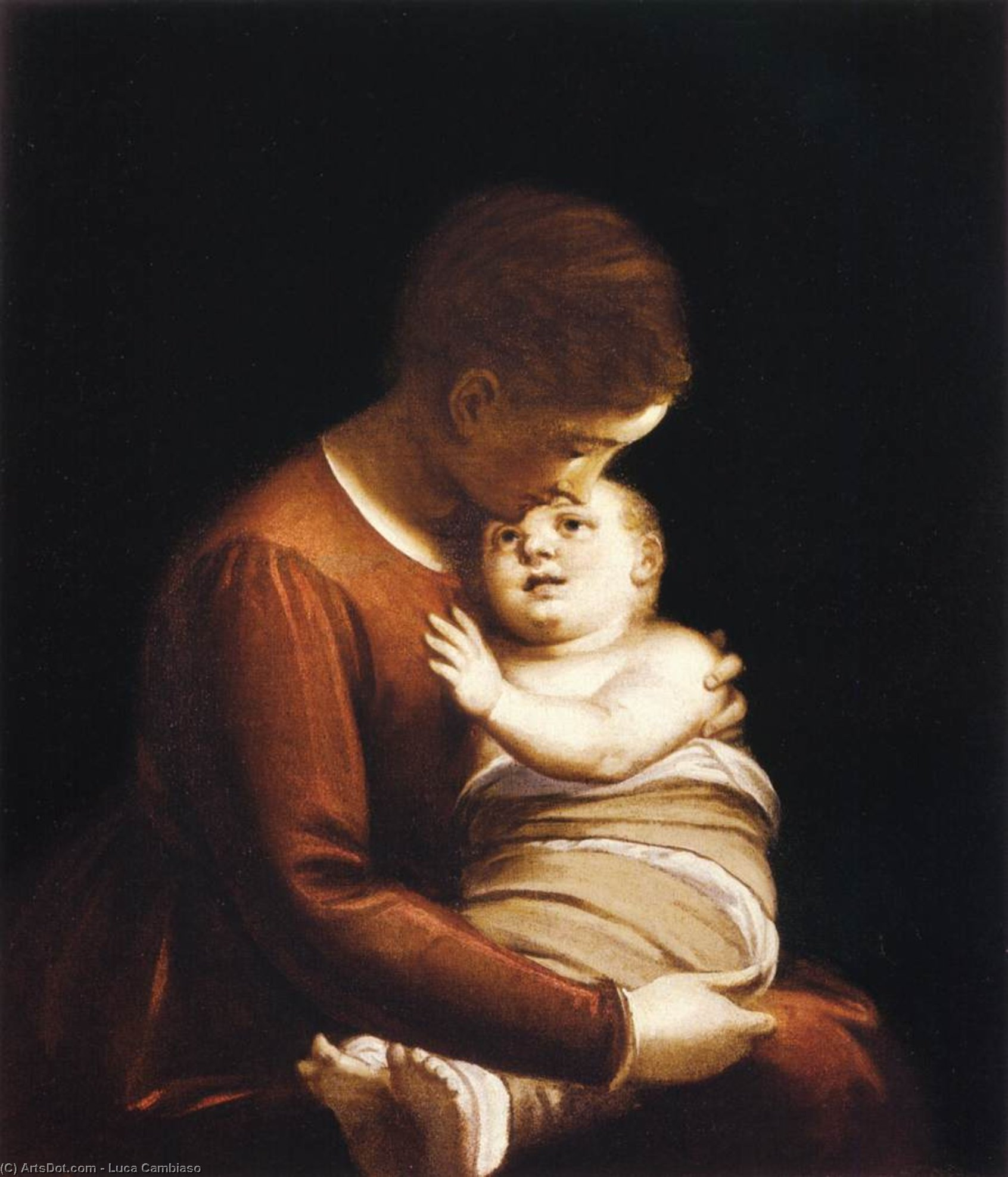 Wikioo.org - The Encyclopedia of Fine Arts - Painting, Artwork by Luca Cambiaso - Virgin with the Christ Child in Swaddling Clothes