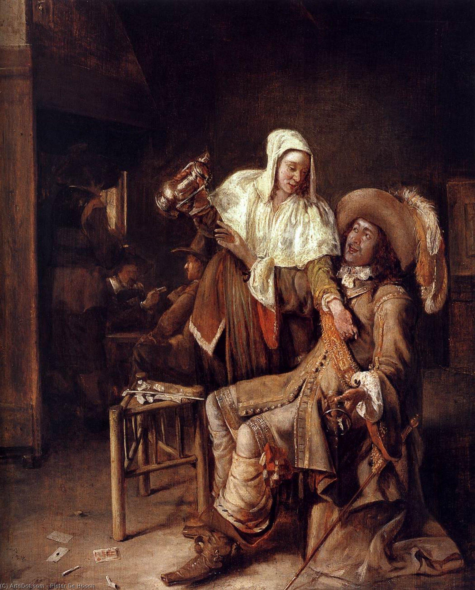Wikioo.org - The Encyclopedia of Fine Arts - Painting, Artwork by Pieter De Hooch - The Empty Glass