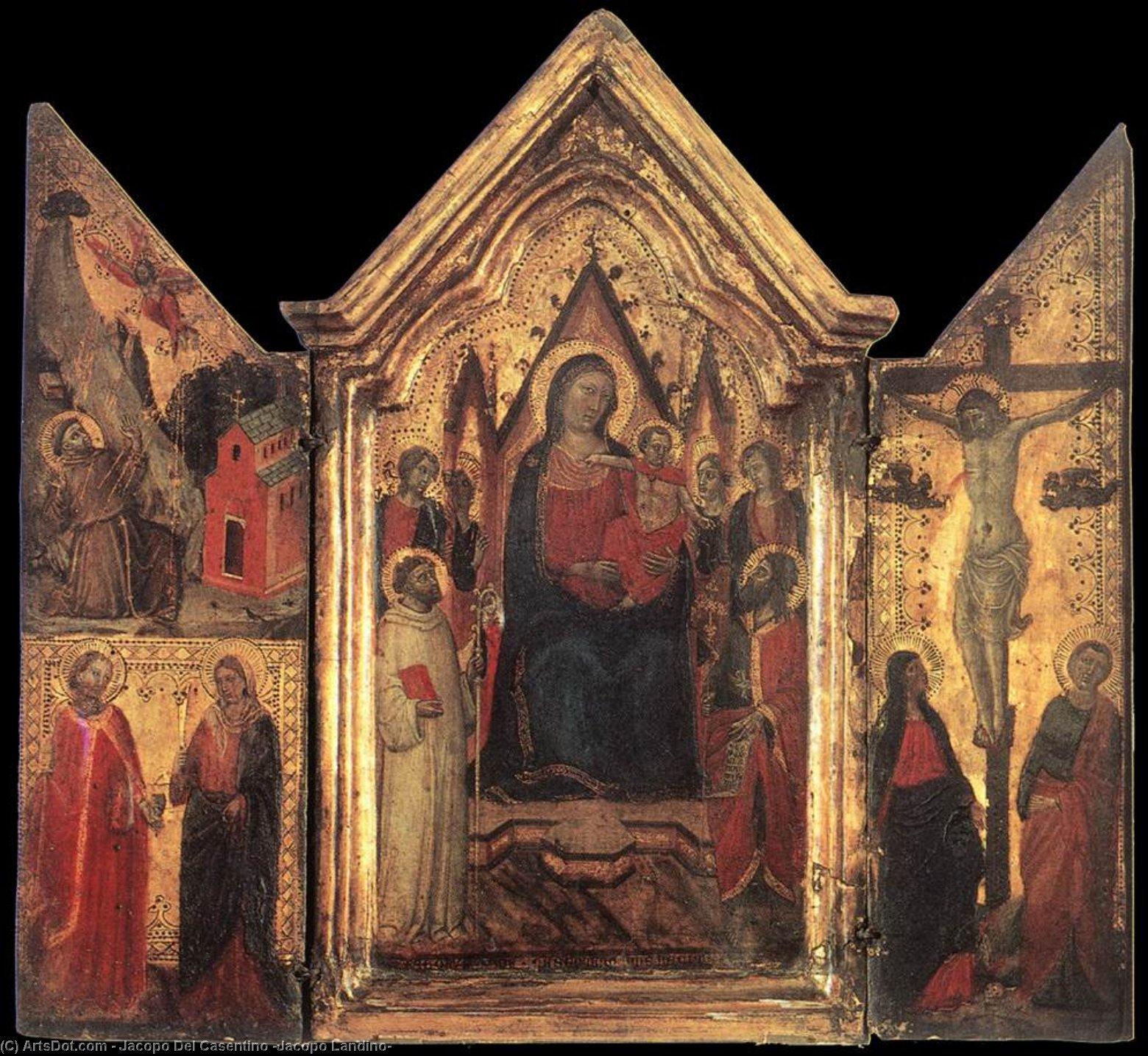 WikiOO.org - Enciklopedija dailės - Tapyba, meno kuriniai Jacopo Del Casentino (Jacopo Landino) - Madonna Enthroned with Angels and Saints