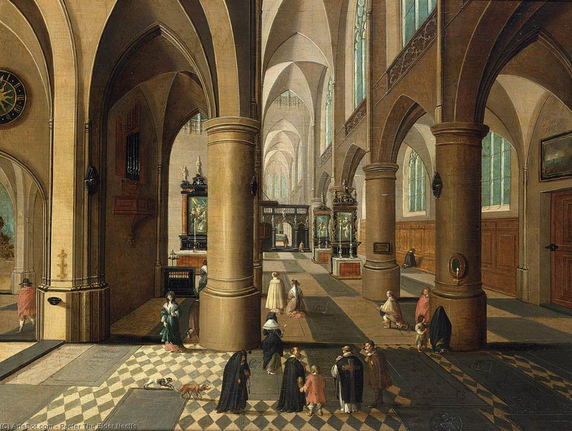 Wikioo.org - The Encyclopedia of Fine Arts - Painting, Artwork by Peeter Neeffs The Elder - Church Interior