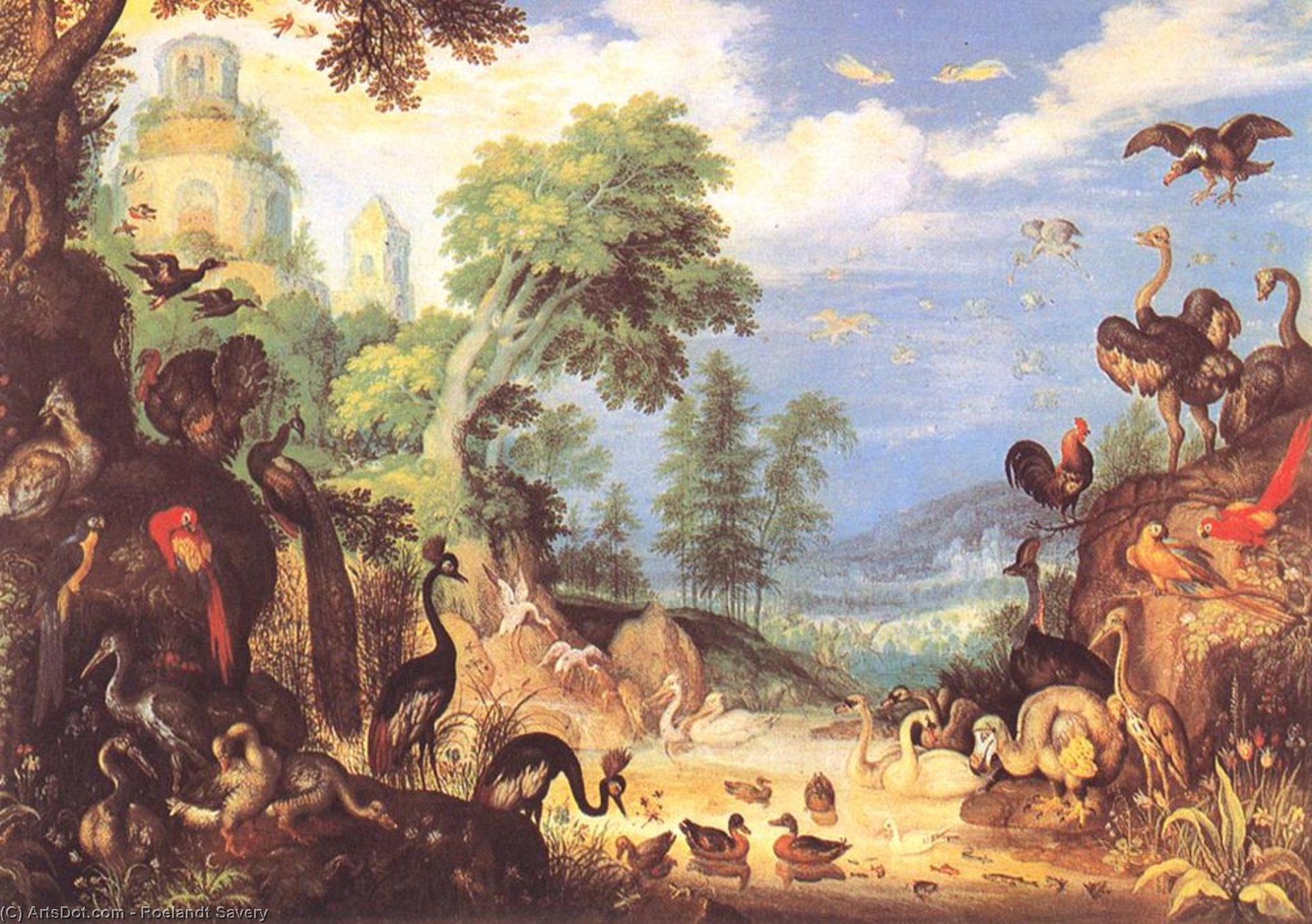 Wikioo.org - The Encyclopedia of Fine Arts - Painting, Artwork by Roelandt Savery - Landscape with Birds
