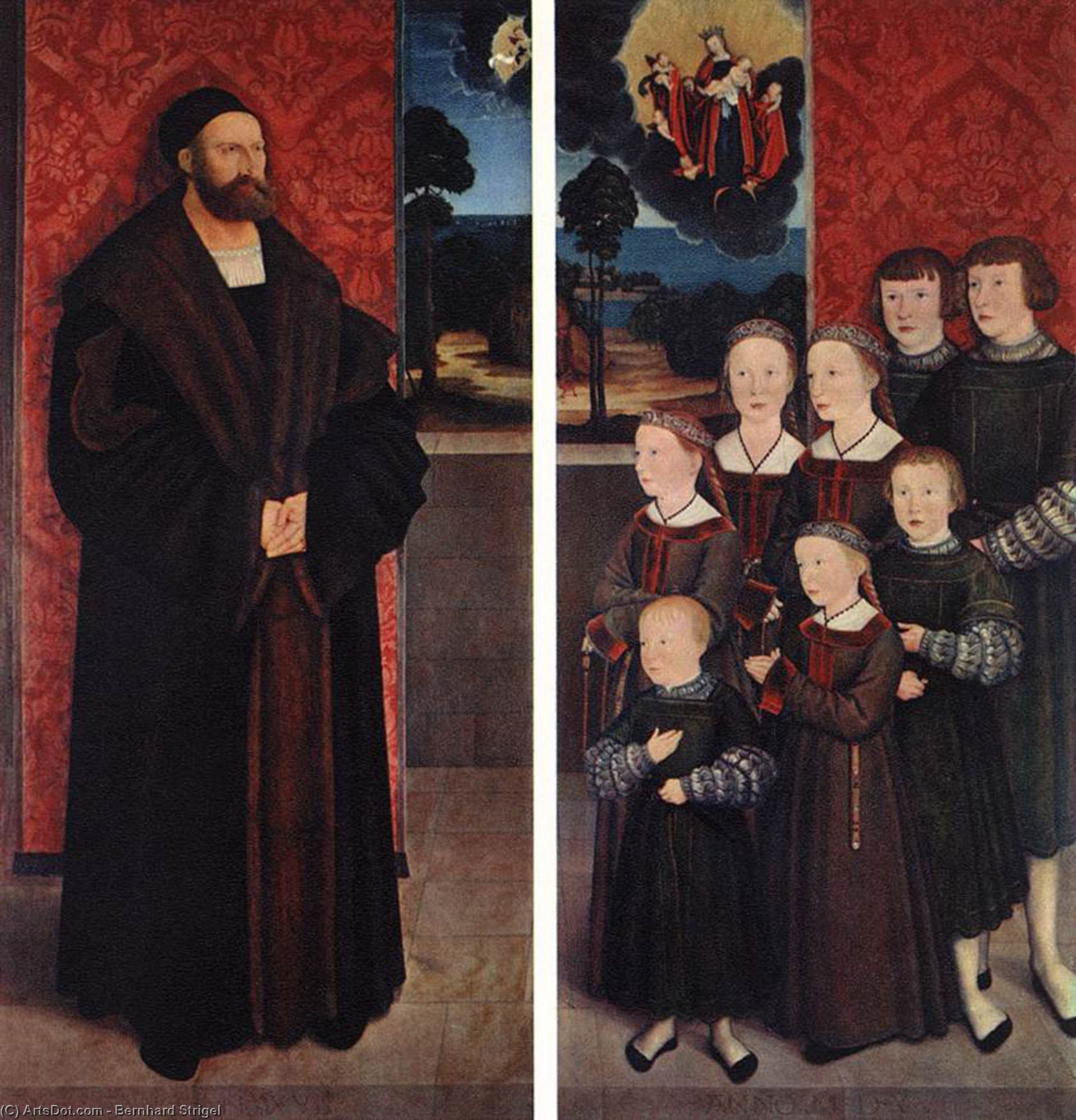 Wikioo.org - The Encyclopedia of Fine Arts - Painting, Artwork by Bernhard Strigel - Portrait of Conrad Rehlinger and his Children