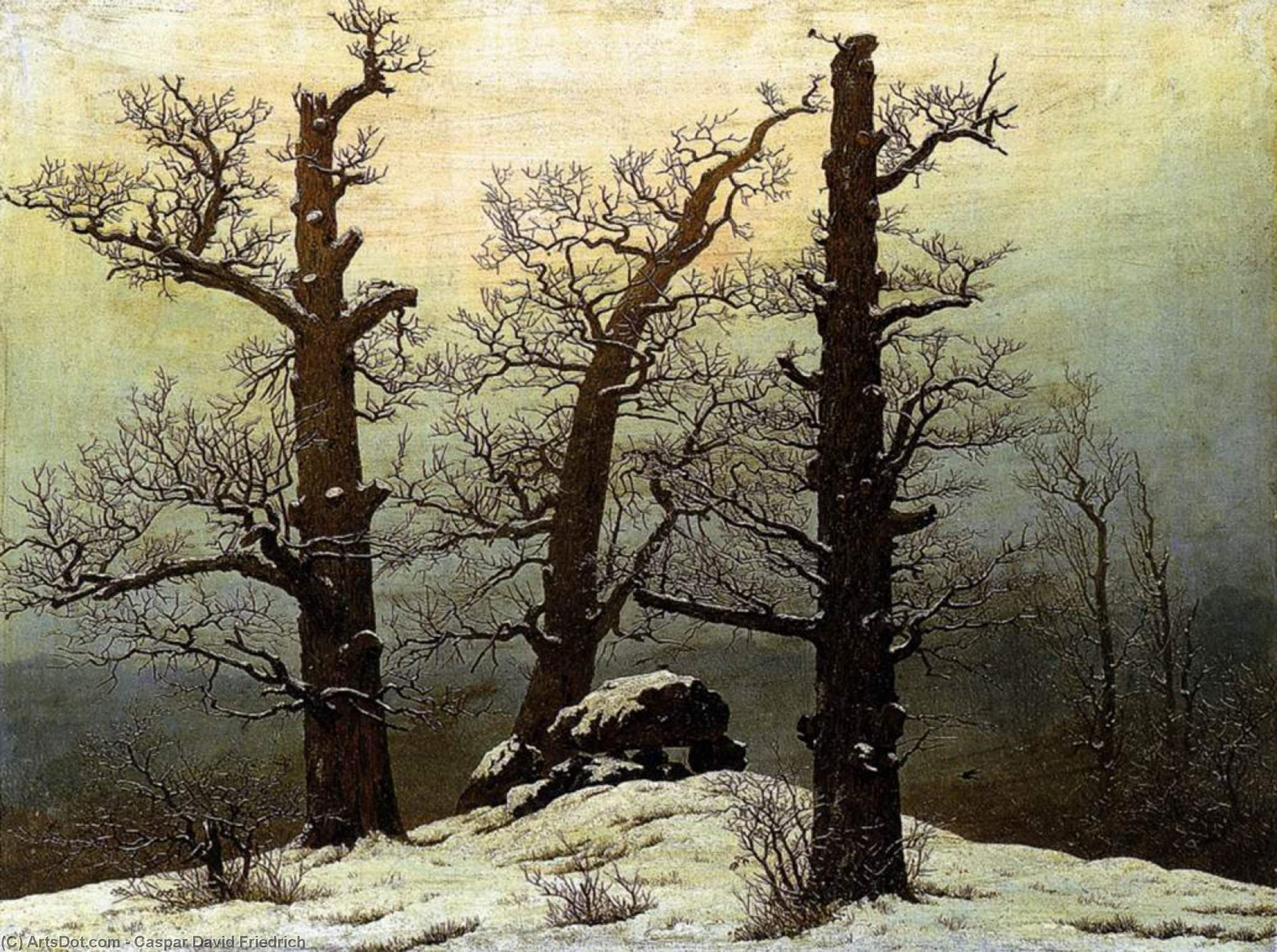 WikiOO.org - Encyclopedia of Fine Arts - Maľba, Artwork Caspar David Friedrich - Dolmen in the Snow