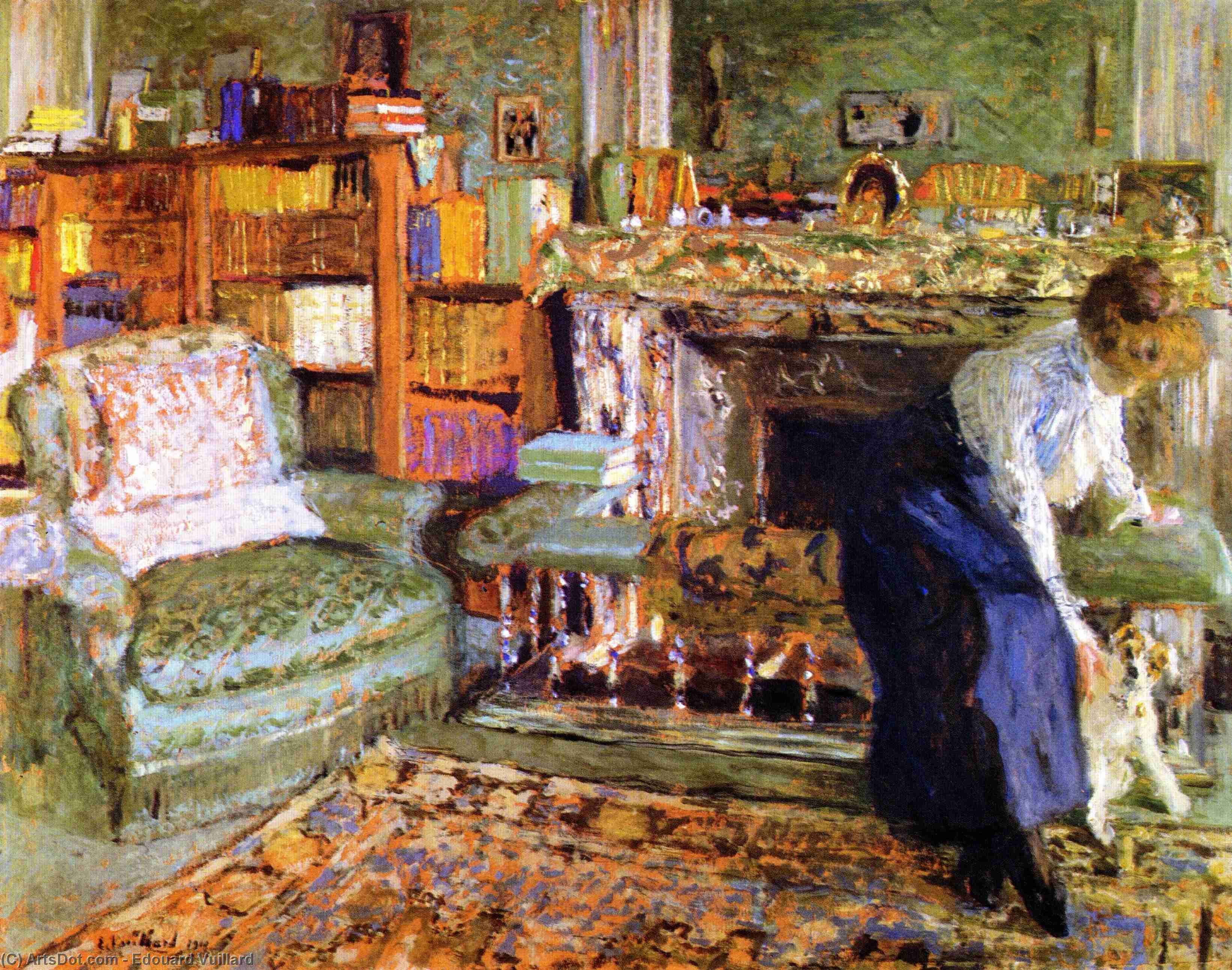 Wikioo.org - The Encyclopedia of Fine Arts - Painting, Artwork by Jean Edouard Vuillard - Miss Marguerite Chapin with Her Fox-Terrier