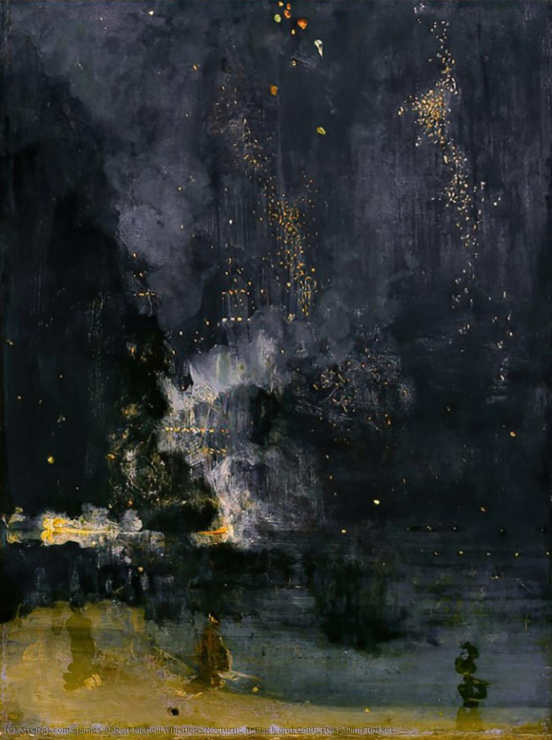 Wikioo.org - The Encyclopedia of Fine Arts - Painting, Artwork by James Abbott Mcneill Whistler - Nocturne in Black and Gold: The Falling Rocket