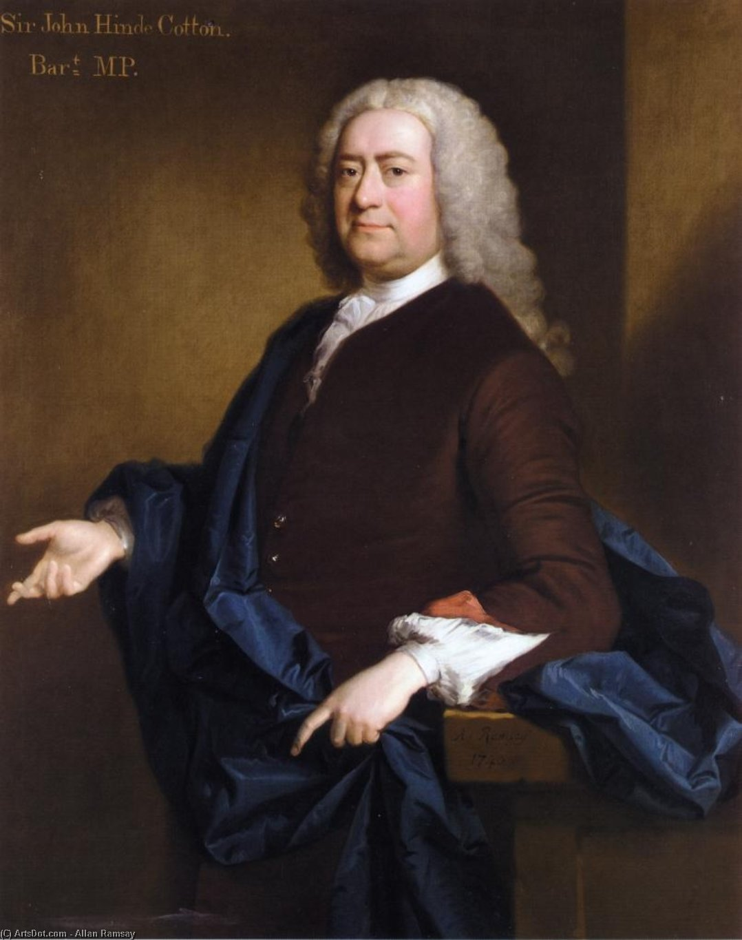 Wikioo.org - The Encyclopedia of Fine Arts - Painting, Artwork by Allan Ramsay - Portrait of Sir John Hynde Cotton, 3rd BT