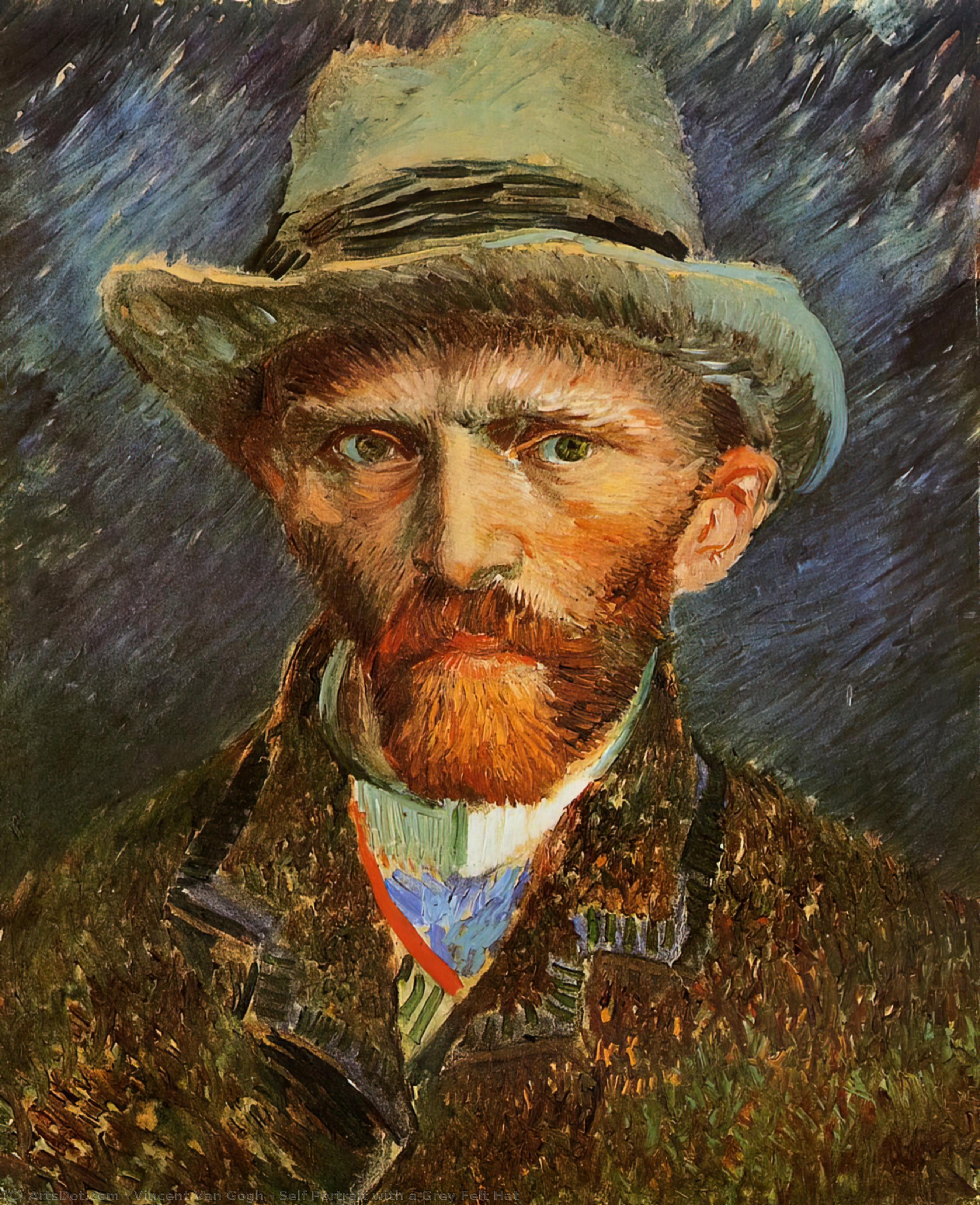 Wikioo.org - The Encyclopedia of Fine Arts - Painting, Artwork by Vincent Van Gogh - Self Portrait with a Grey Felt Hat