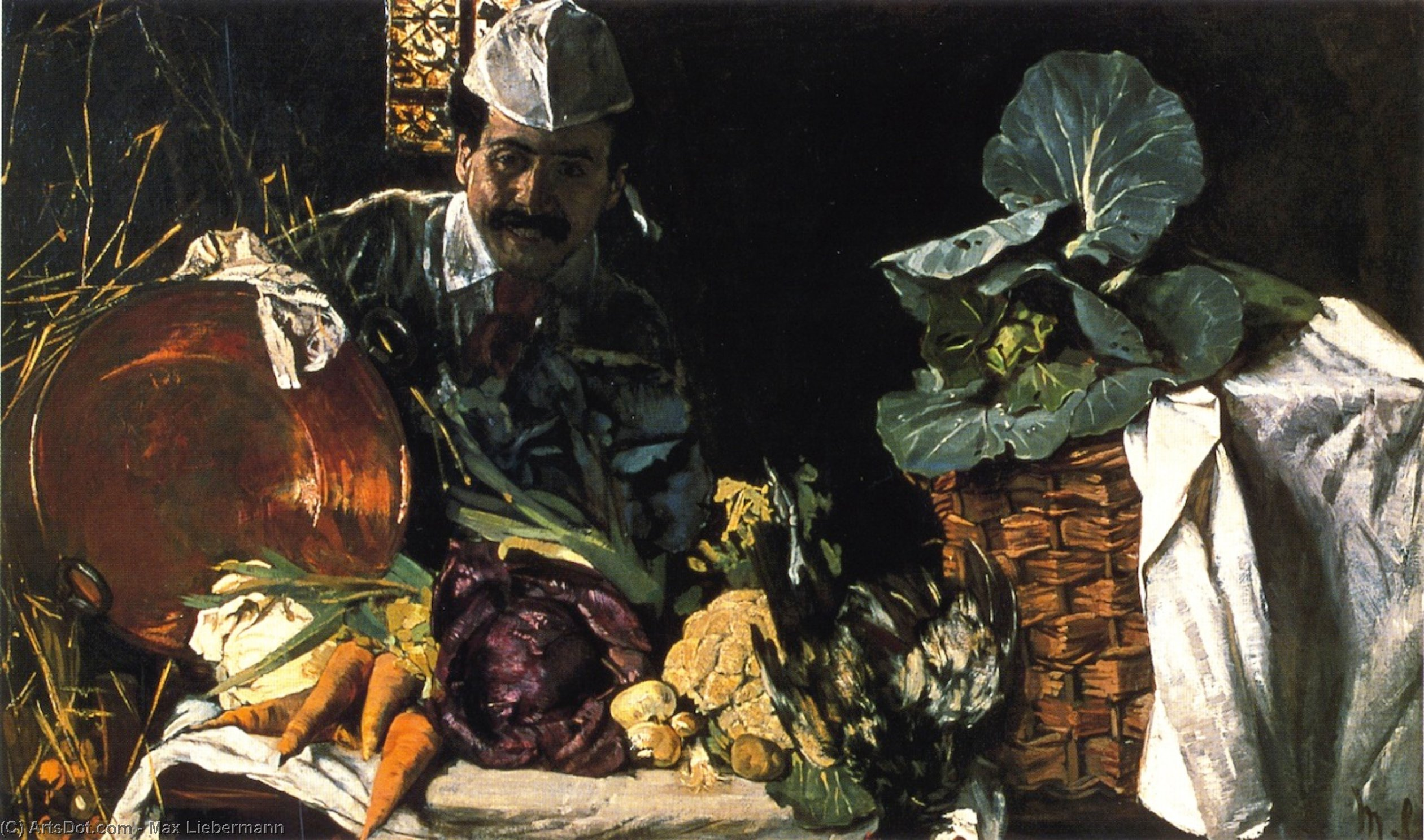 Wikioo.org - The Encyclopedia of Fine Arts - Painting, Artwork by Max Liebermann - Self Portrait with Kitchen Still LIfe