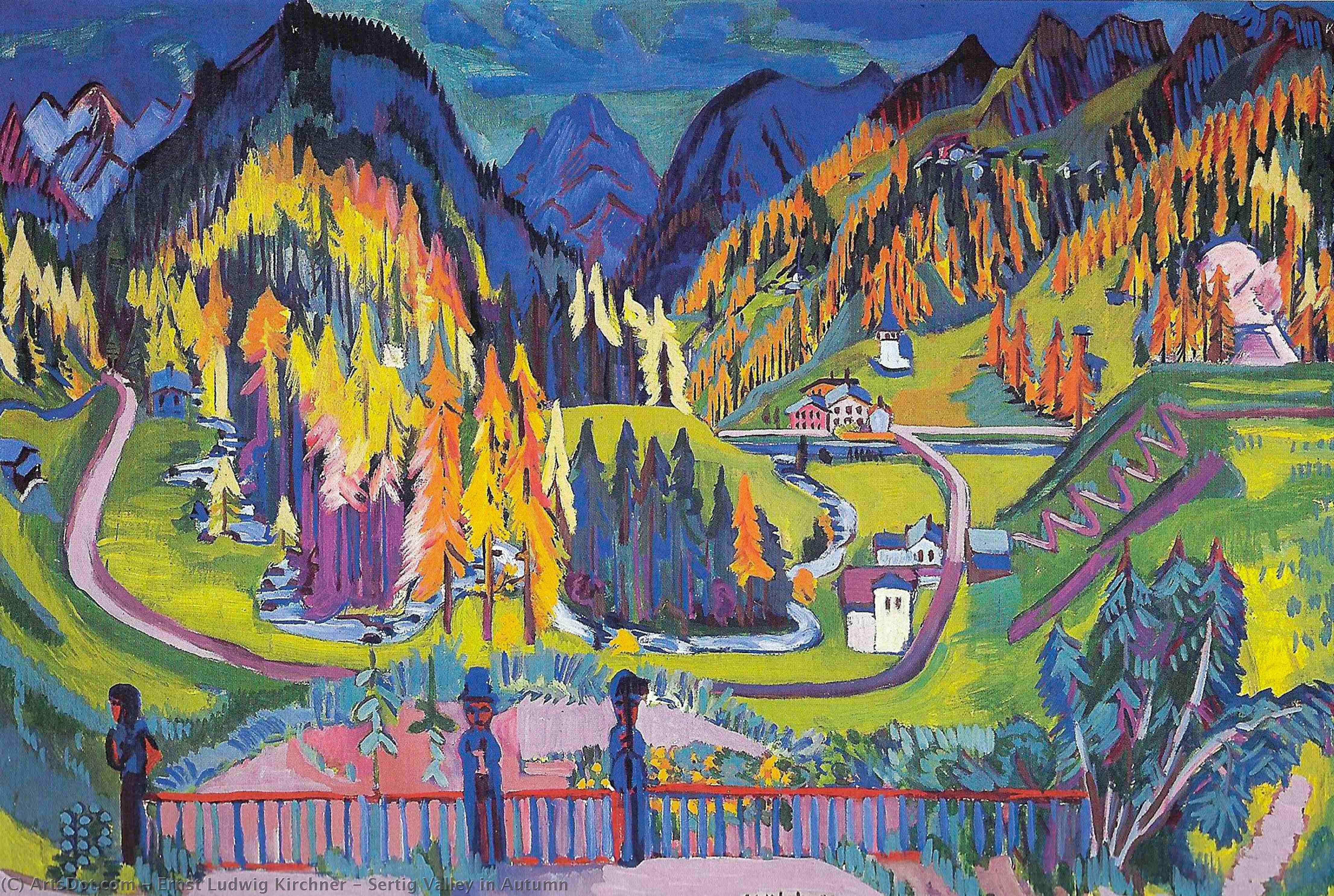 Wikioo.org - The Encyclopedia of Fine Arts - Painting, Artwork by Ernst Ludwig Kirchner - Sertig Valley in Autumn