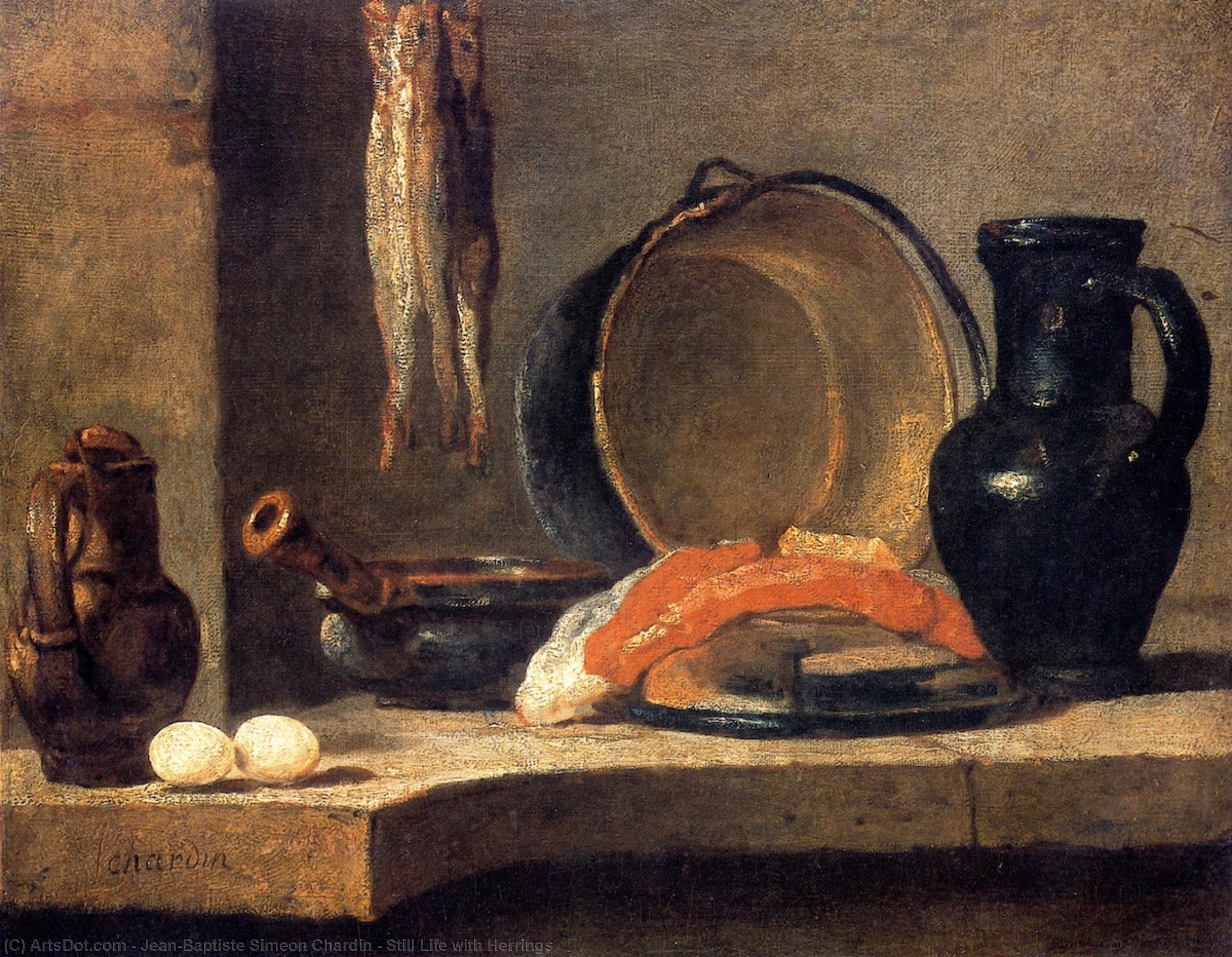 WikiOO.org - Encyclopedia of Fine Arts - Lukisan, Artwork Jean-Baptiste Simeon Chardin - Still Life with Herrings