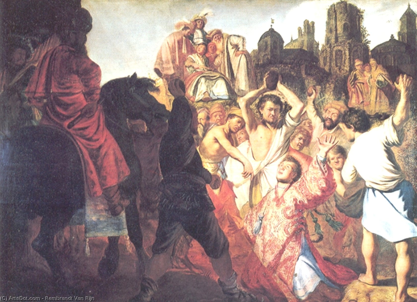 Wikioo.org - The Encyclopedia of Fine Arts - Painting, Artwork by Rembrandt Van Rijn - The Stoning of St. Stephen