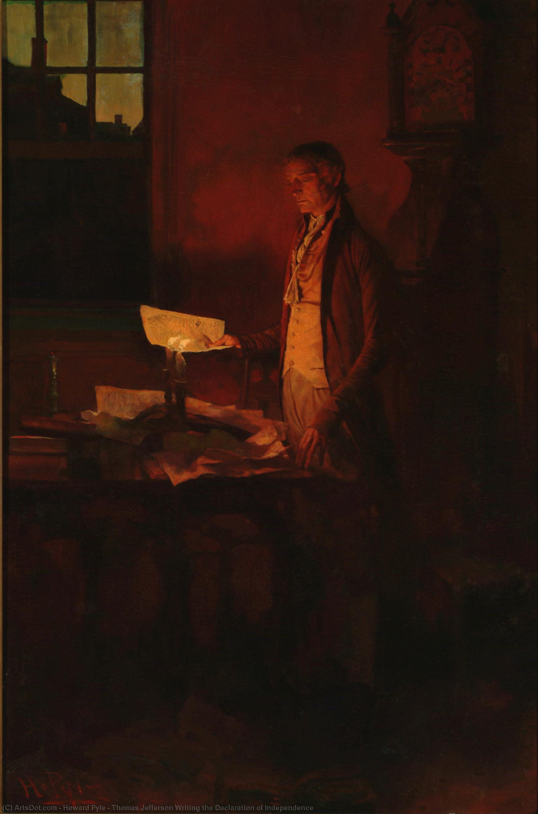 Wikioo.org - The Encyclopedia of Fine Arts - Painting, Artwork by Howard Pyle - Thomas Jefferson Writing the Declaration of Independence