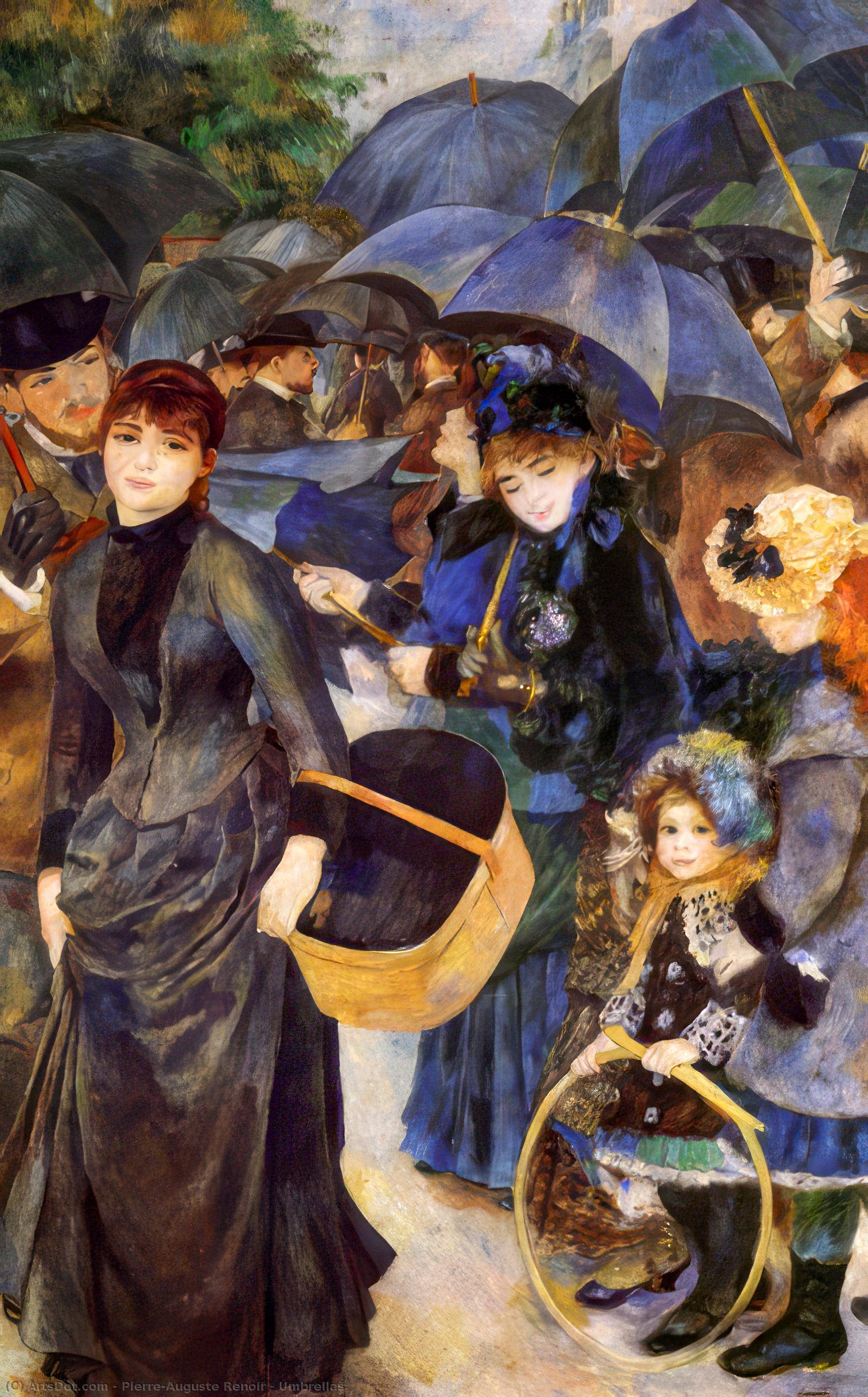 Wikioo.org - The Encyclopedia of Fine Arts - Painting, Artwork by Pierre-Auguste Renoir - Umbrellas