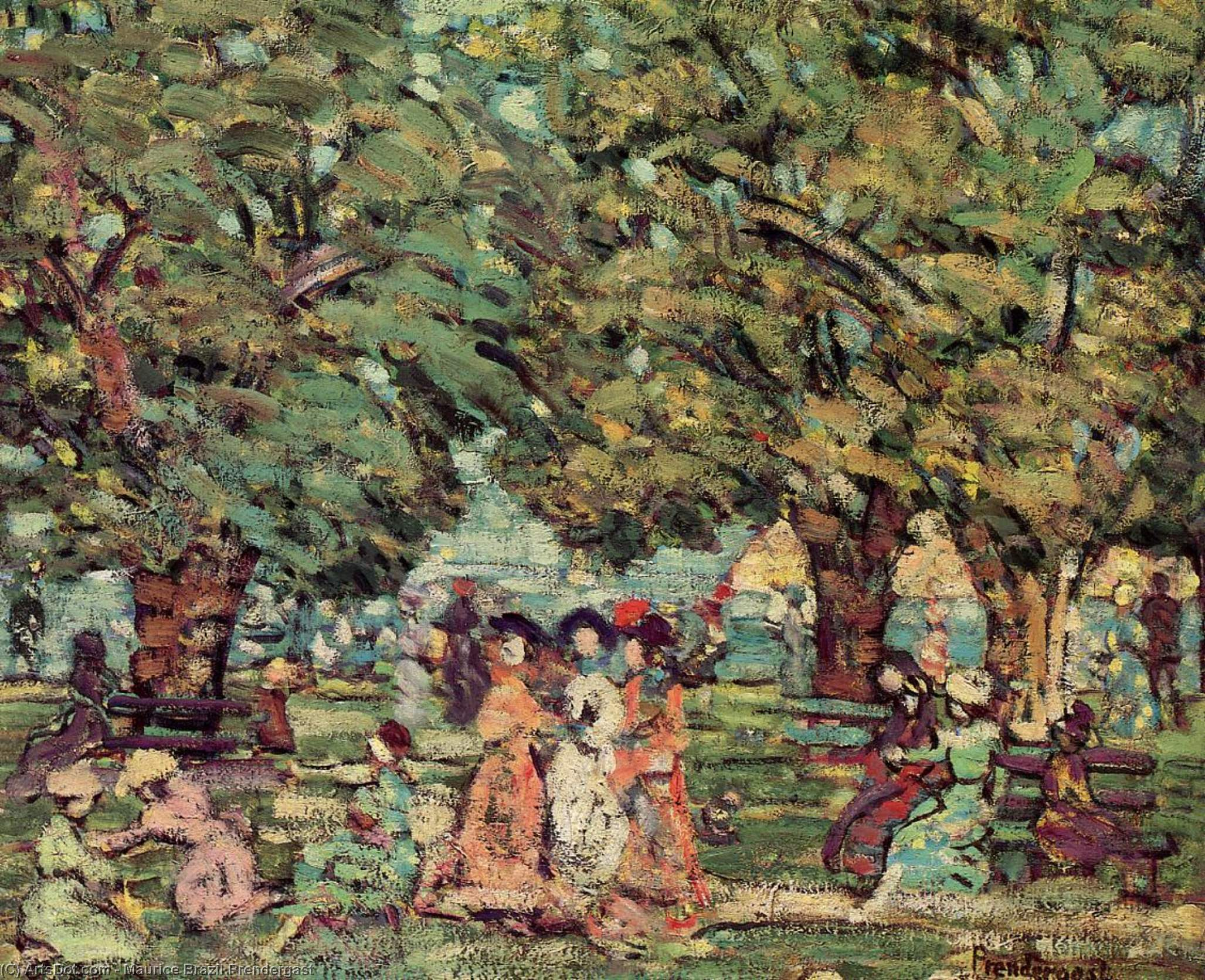 Wikioo.org - The Encyclopedia of Fine Arts - Painting, Artwork by Maurice Brazil Prendergast - Under the Trees