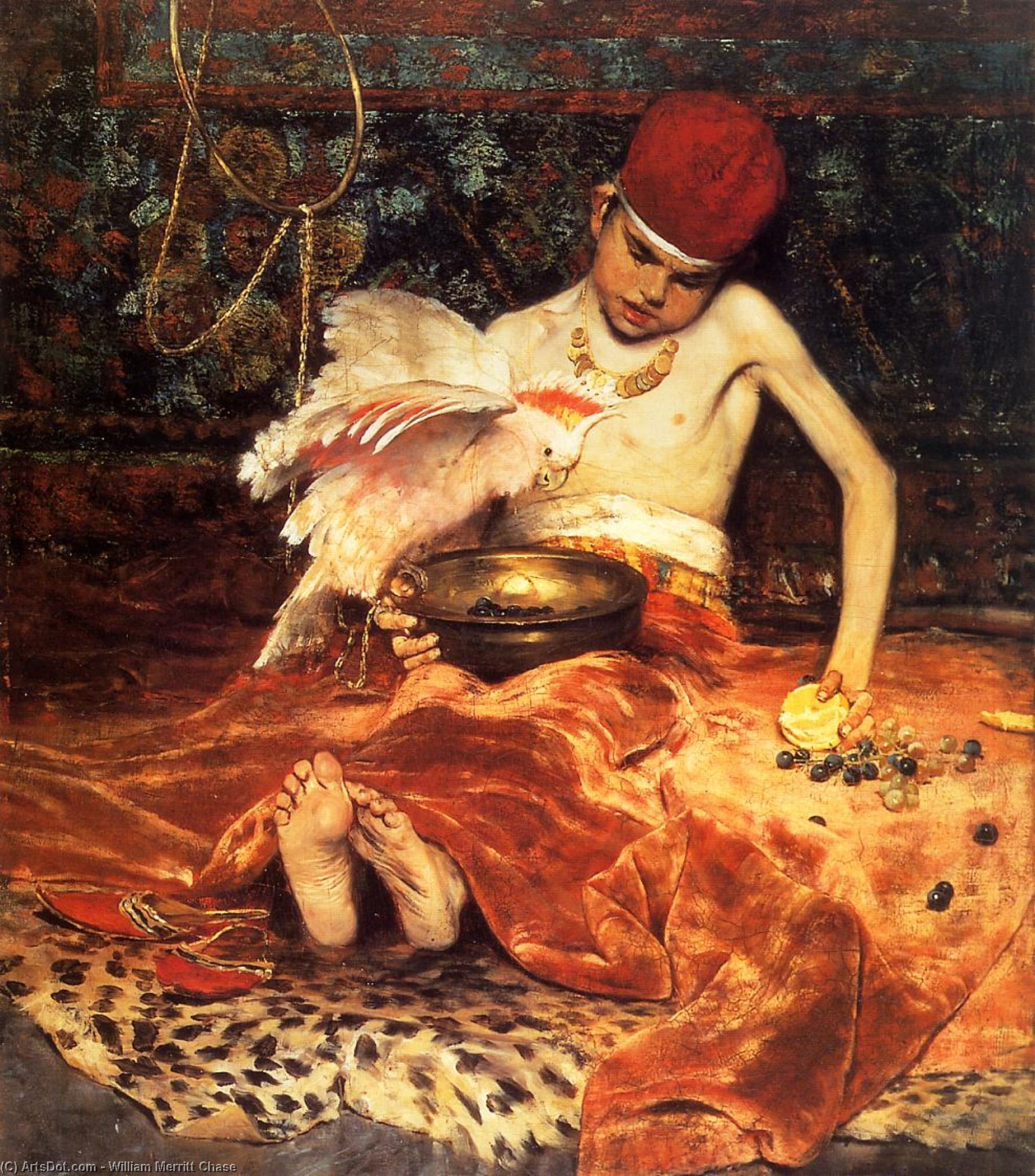 Wikioo.org - The Encyclopedia of Fine Arts - Painting, Artwork by William Merritt Chase - Unexpected Intrusion (also known as The Turkish Page)