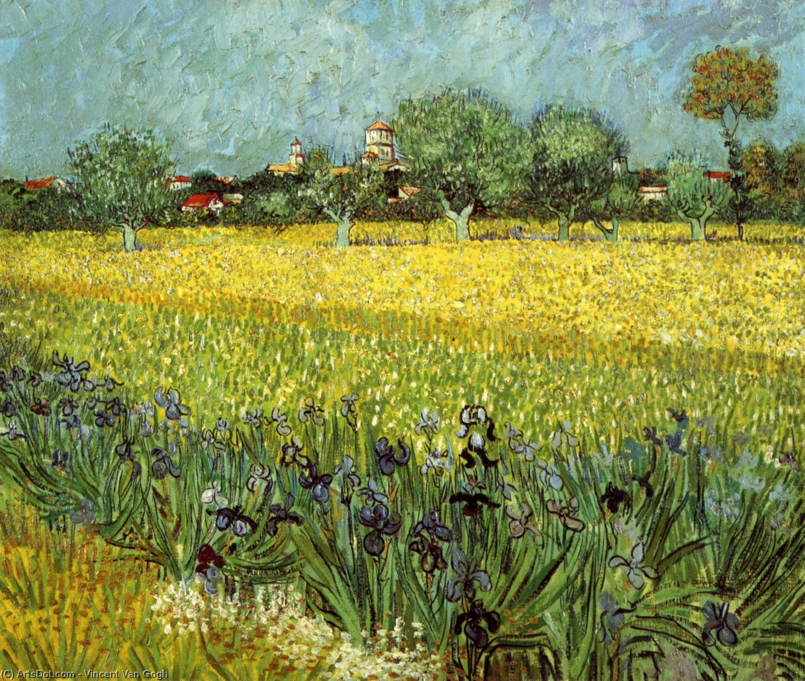 Wikioo.org - The Encyclopedia of Fine Arts - Painting, Artwork by Vincent Van Gogh - View of Arles with Irises