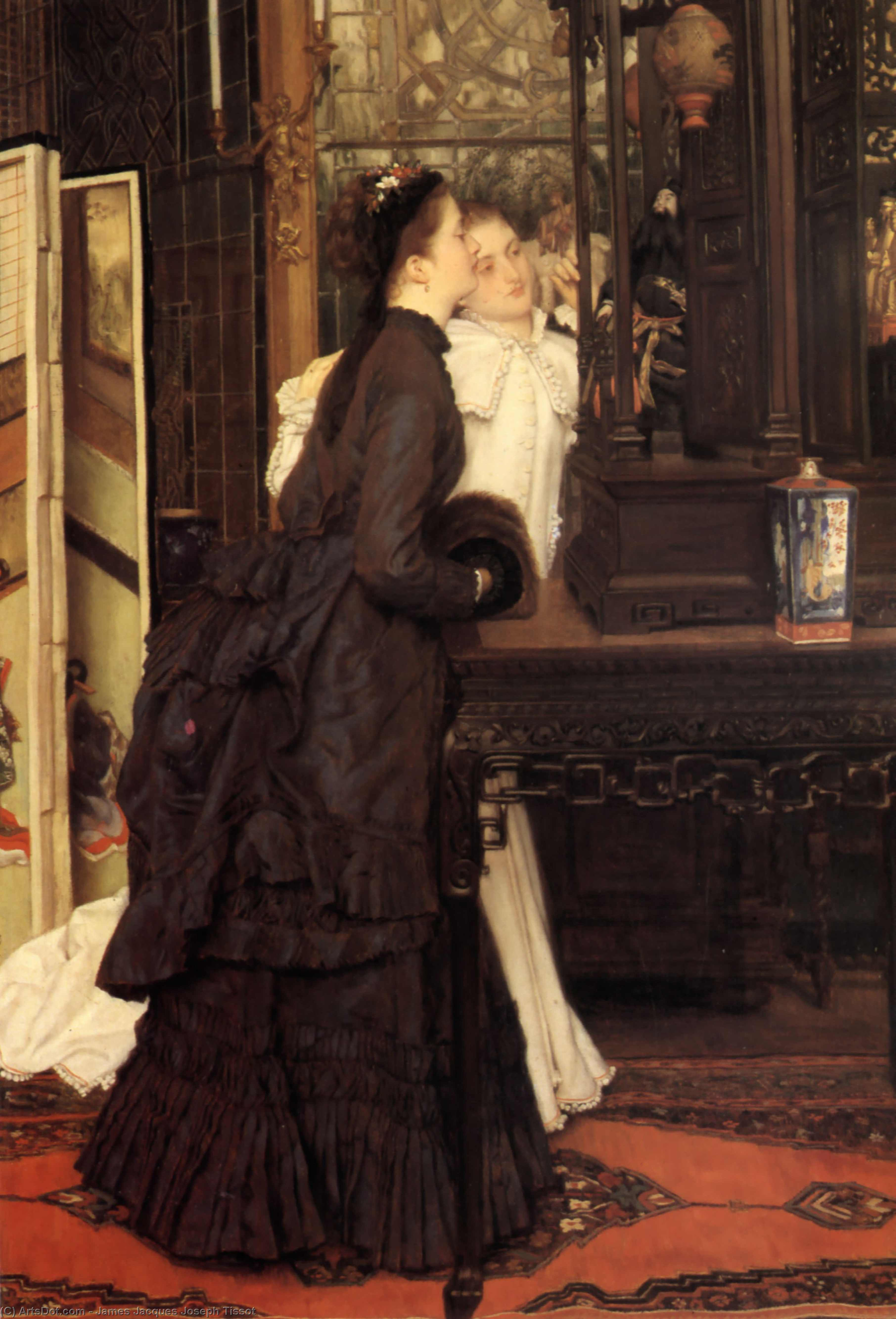 Wikioo.org - The Encyclopedia of Fine Arts - Painting, Artwork by James Jacques Joseph Tissot - Young Ladies Looking at Japanese Objects