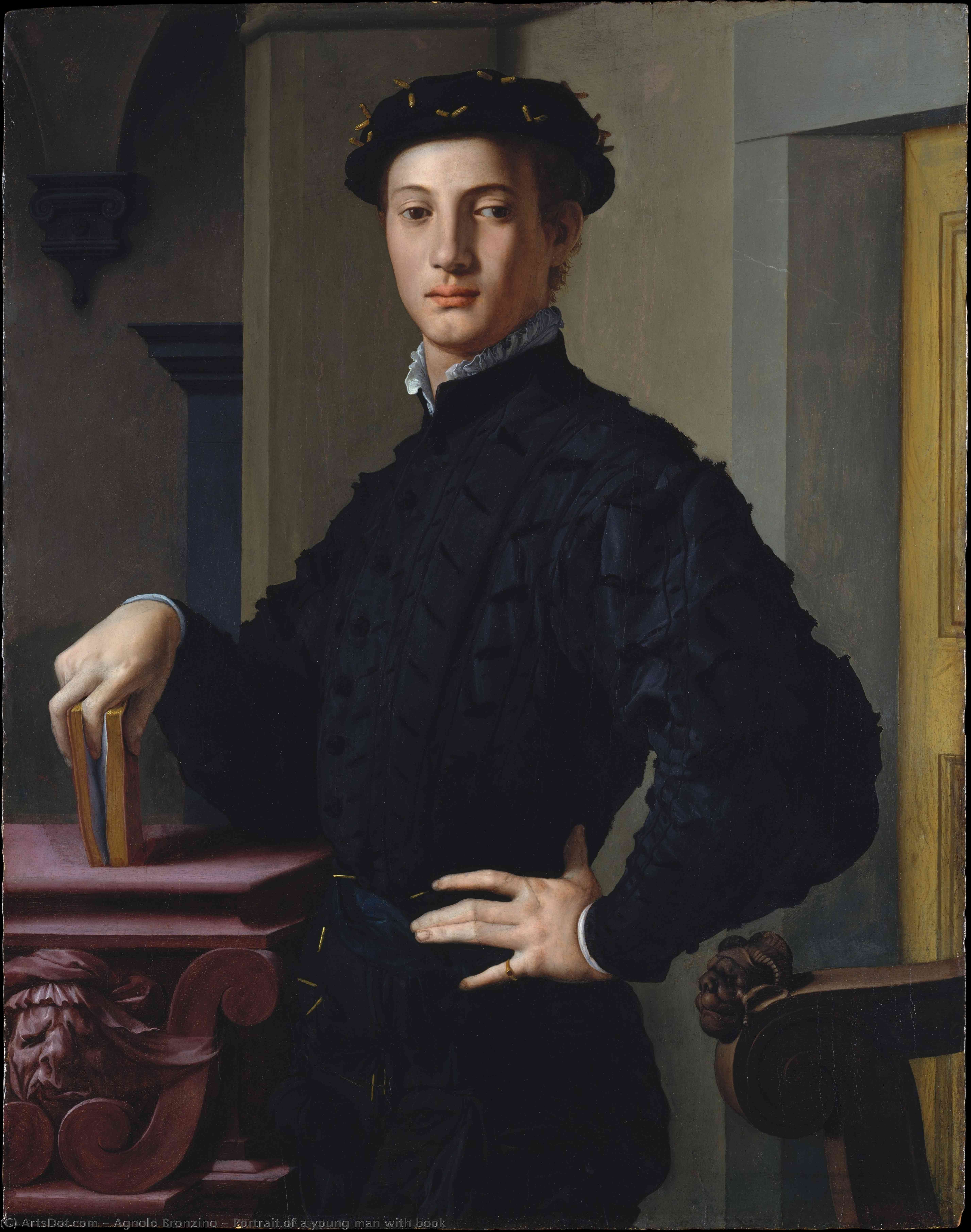 Wikioo.org - The Encyclopedia of Fine Arts - Painting, Artwork by Agnolo Bronzino - Portrait of a young man with book