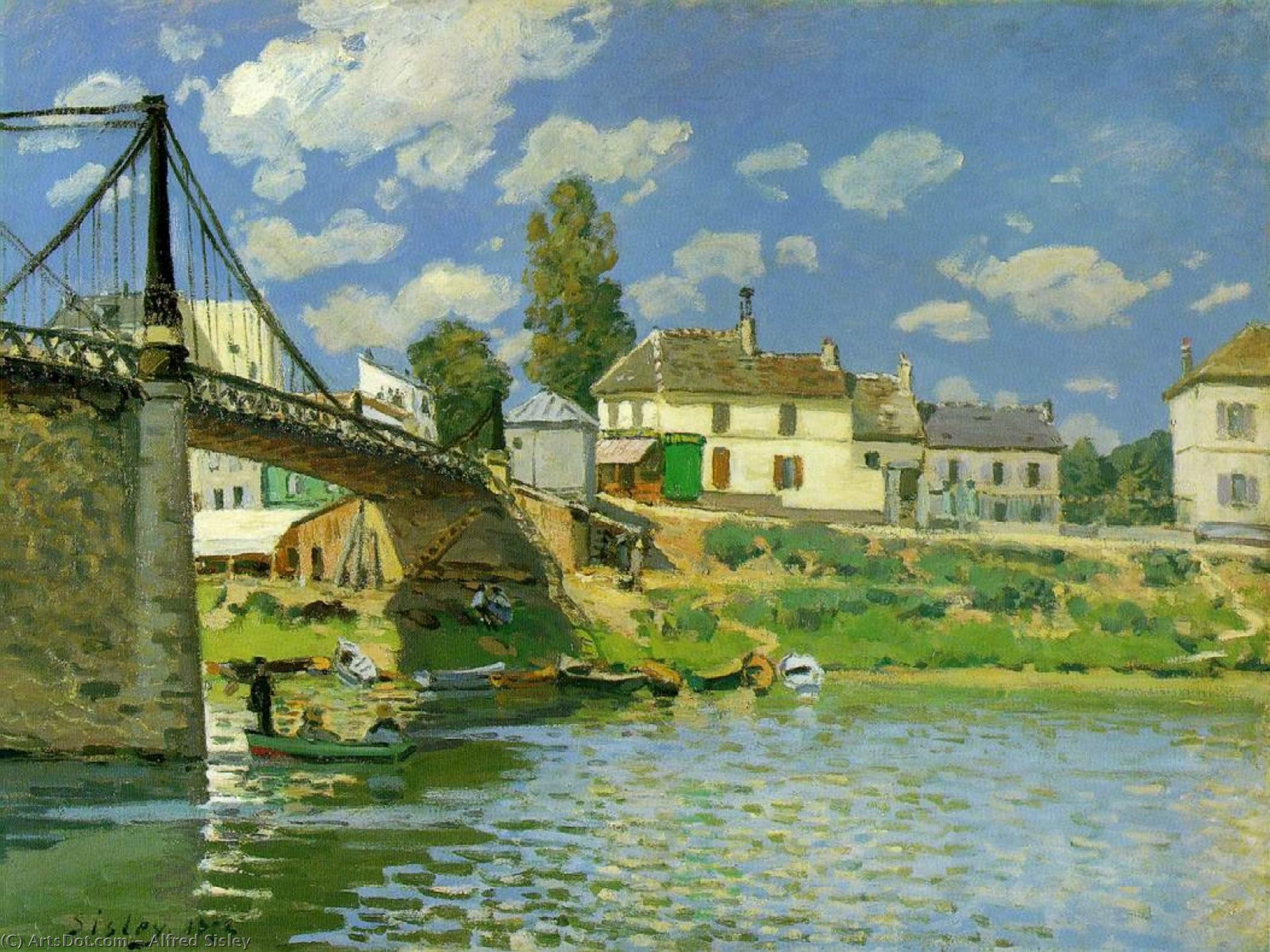 Wikioo.org - The Encyclopedia of Fine Arts - Painting, Artwork by Alfred Sisley - Bridge at Villeneuve la Garenne - -