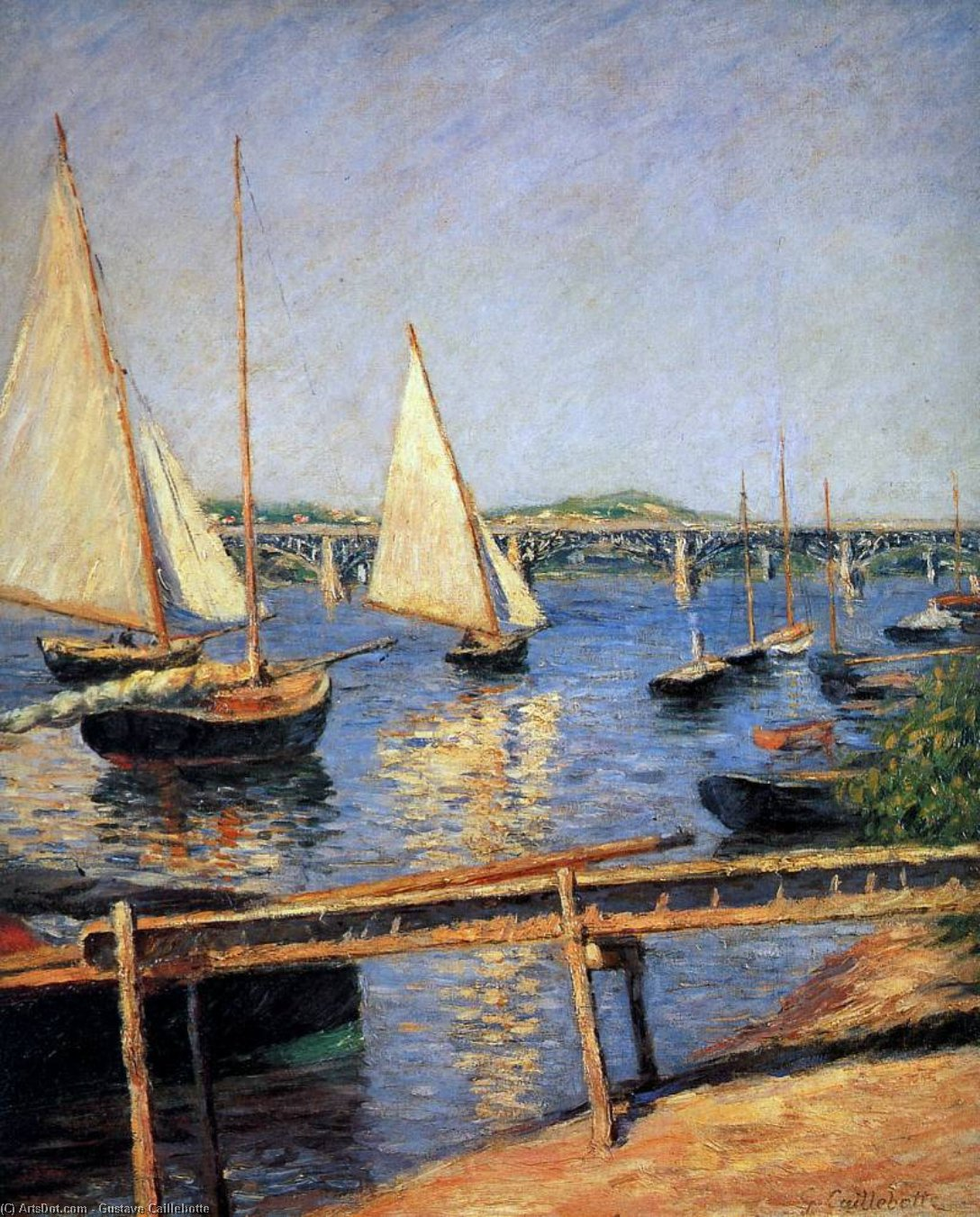 Wikioo.org - The Encyclopedia of Fine Arts - Painting, Artwork by Gustave Caillebotte - Sailing boats at Argentueil Sun