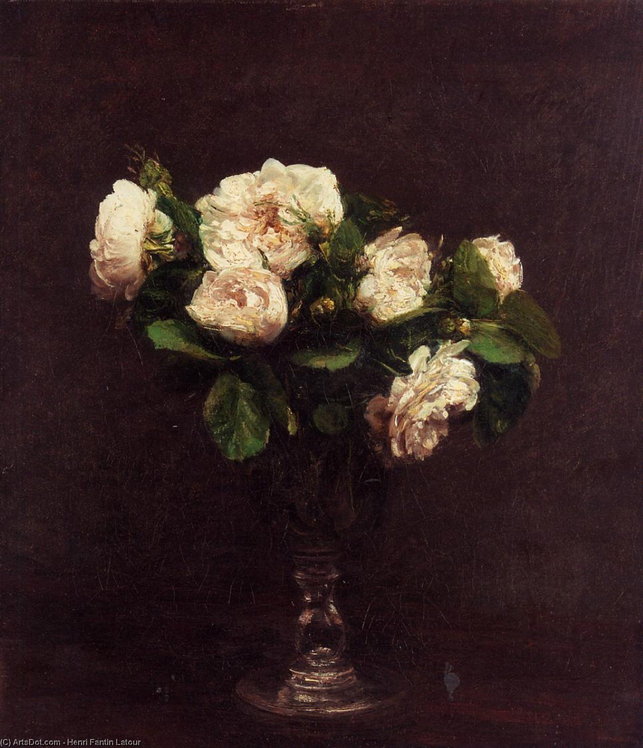 Wikioo.org - The Encyclopedia of Fine Arts - Painting, Artwork by Henri Fantin Latour - white roses