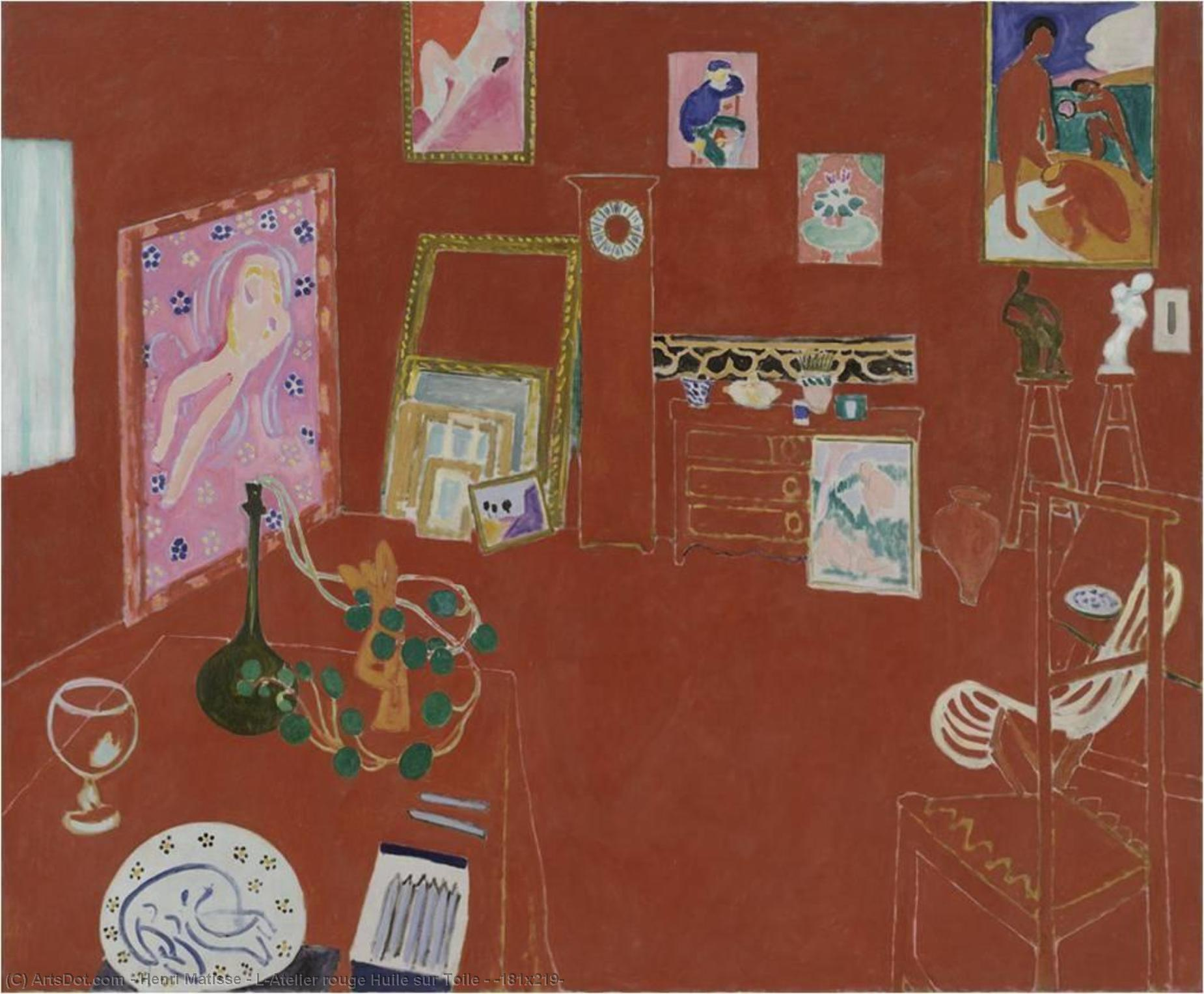 Wikioo.org - The Encyclopedia of Fine Arts - Painting, Artwork by Henri Matisse - L'Atelier rouge Huile sur Toile - (181x219)