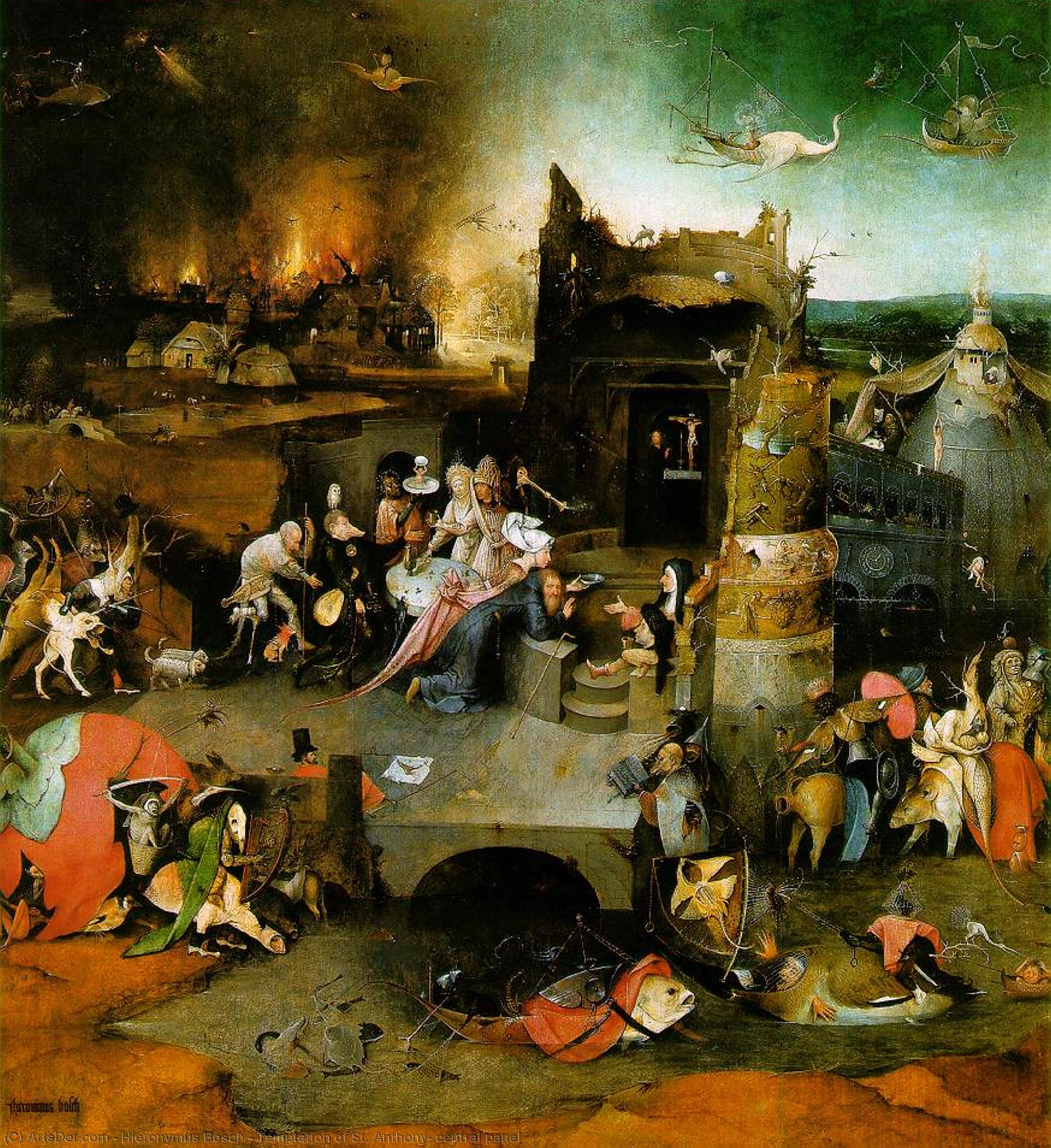 Wikioo.org - The Encyclopedia of Fine Arts - Painting, Artwork by Hieronymus Bosch - Temptation of St. Anthony, central panel