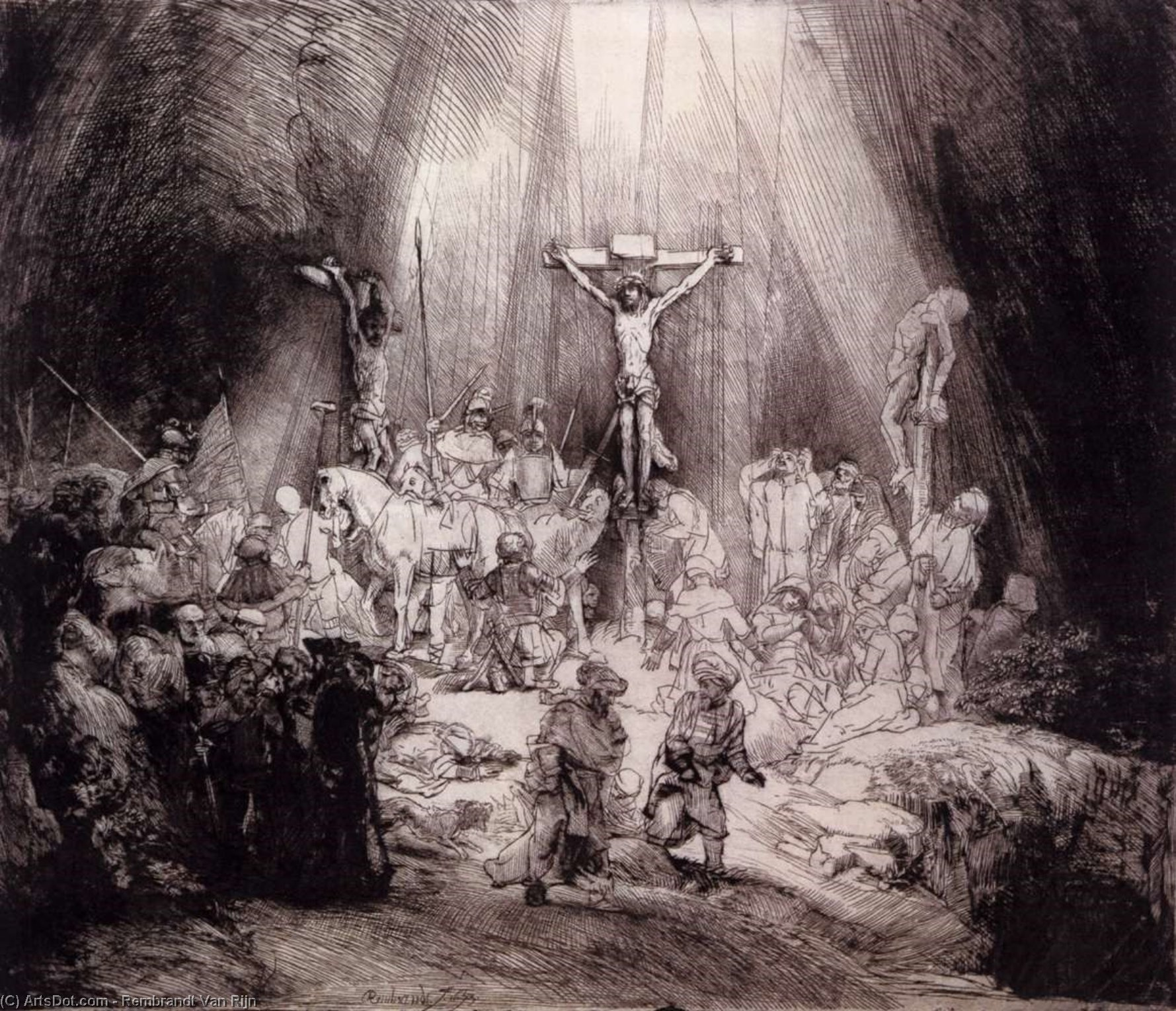 Wikioo.org - The Encyclopedia of Fine Arts - Painting, Artwork by Rembrandt Van Rijn - The Three Crosses (first state)