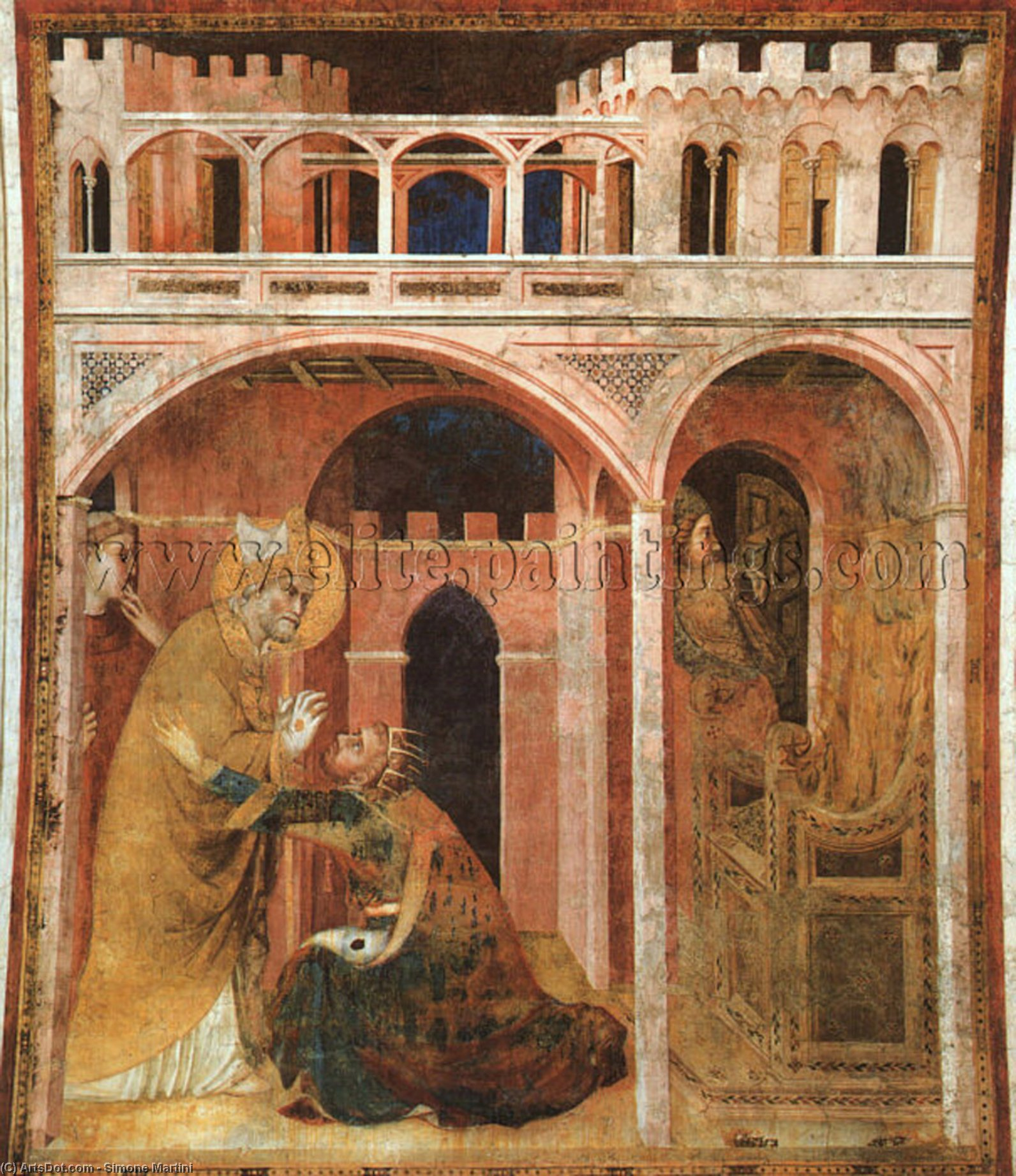 Wikioo.org - The Encyclopedia of Fine Arts - Painting, Artwork by Simone Martini - Miracle of Fire, approx. 1321, fresco, Lower Church