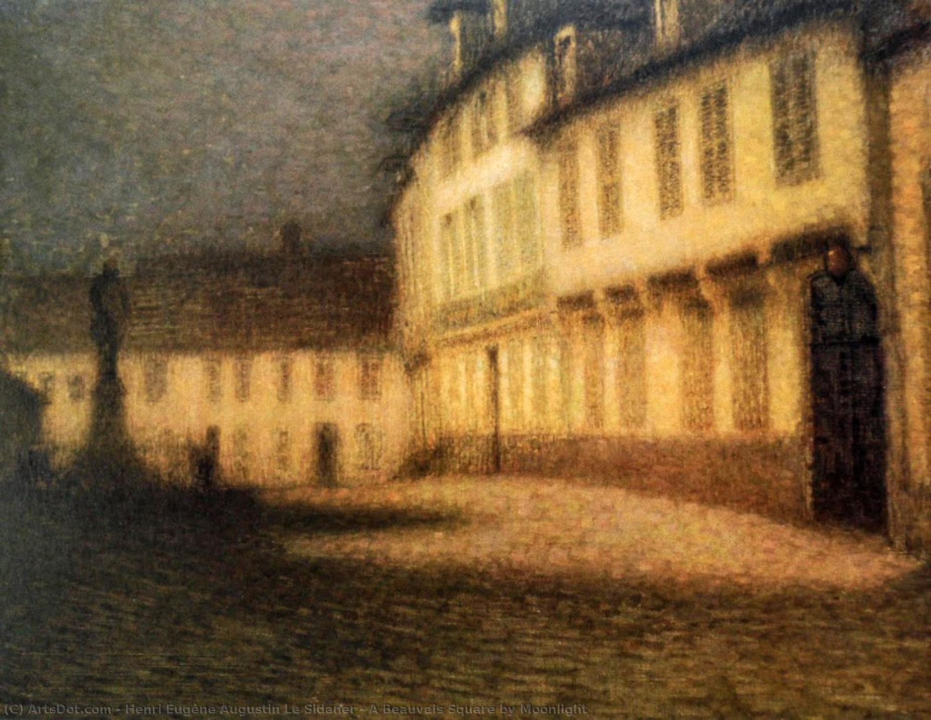 Wikoo.org - موسوعة الفنون الجميلة - اللوحة، العمل الفني Henri Eugène Augustin Le Sidaner - A Beauvais Square by Moonlight