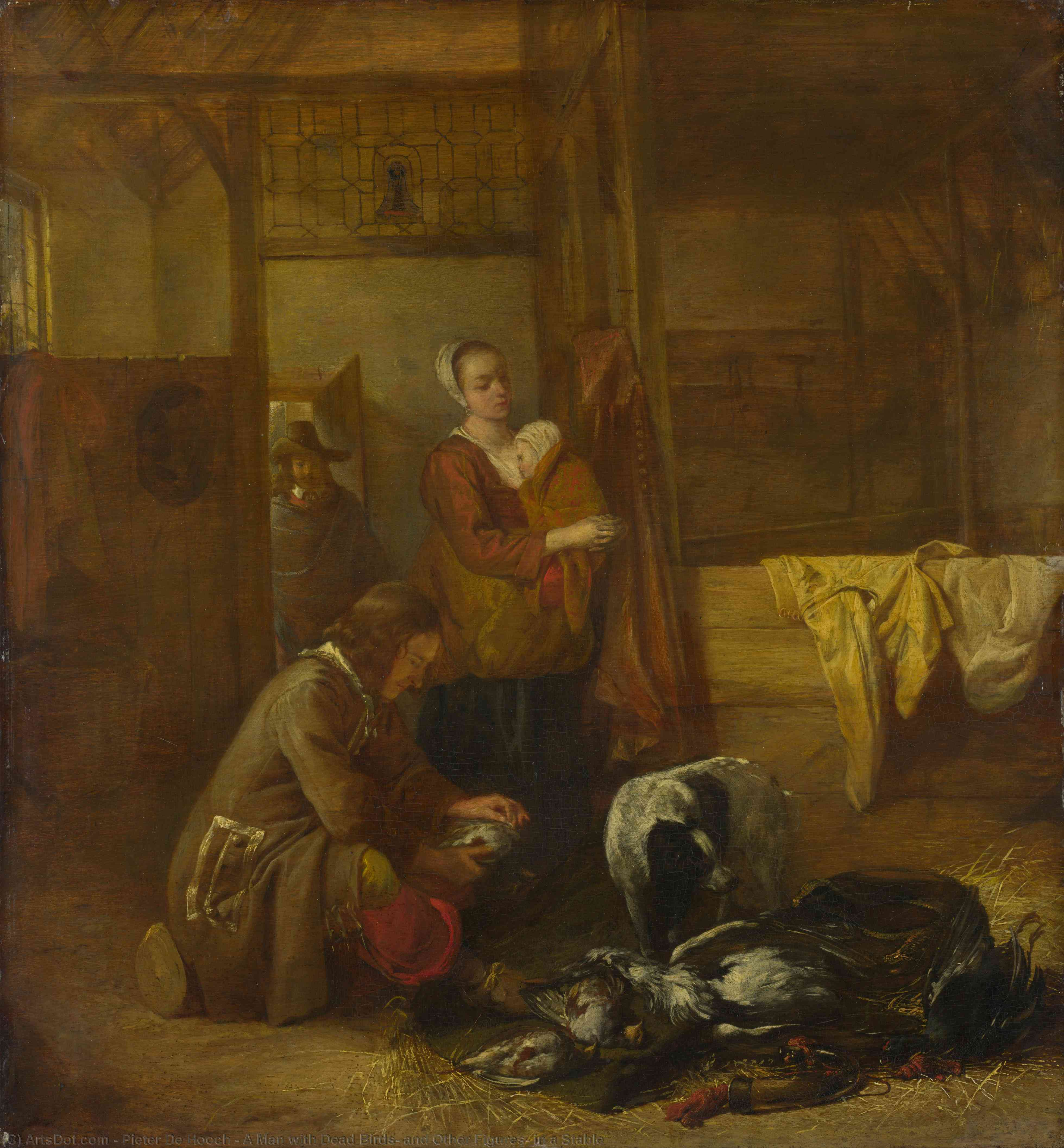 Wikioo.org - The Encyclopedia of Fine Arts - Painting, Artwork by Pieter De Hooch - A Man with Dead Birds, and Other Figures, in a Stable