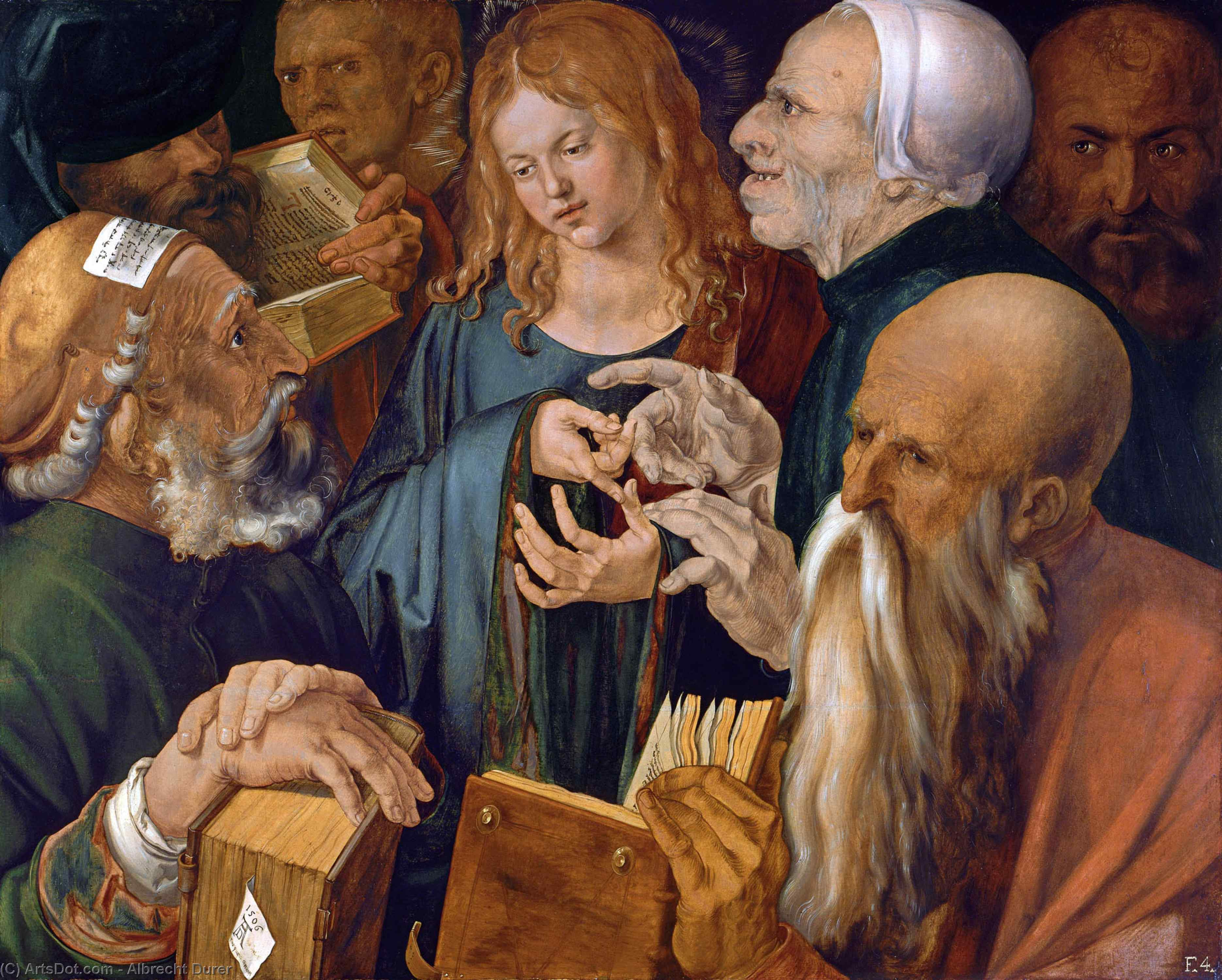 WikiOO.org - Encyclopedia of Fine Arts - Maleri, Artwork Albrecht Durer - Christ Among the Doctors