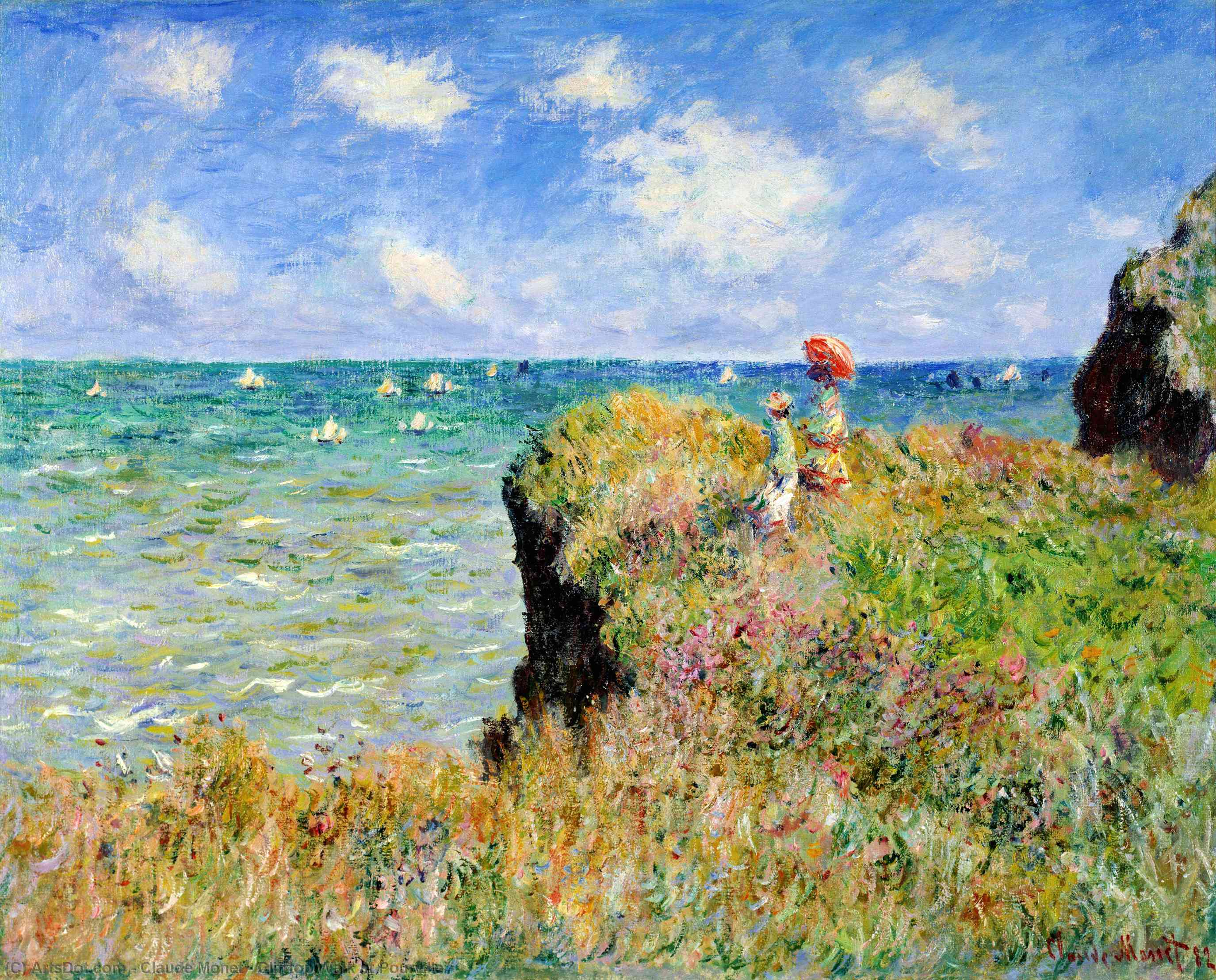 Wikioo.org - The Encyclopedia of Fine Arts - Painting, Artwork by Claude Monet - Clifftop Walk at Pourville