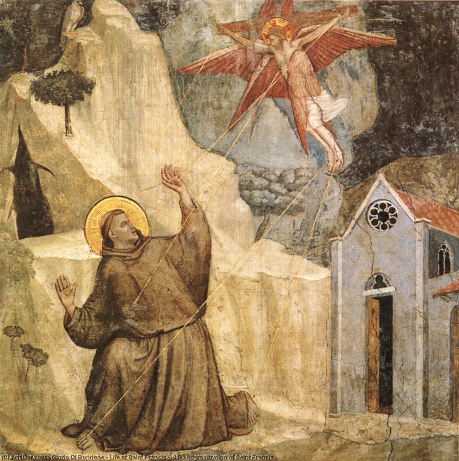 Wikioo.org – L'Enciclopedia delle Belle Arti - Pittura, Opere di Giotto Di Bondone - vita di san francesco - [ 01 ] - stimmate di san francesco